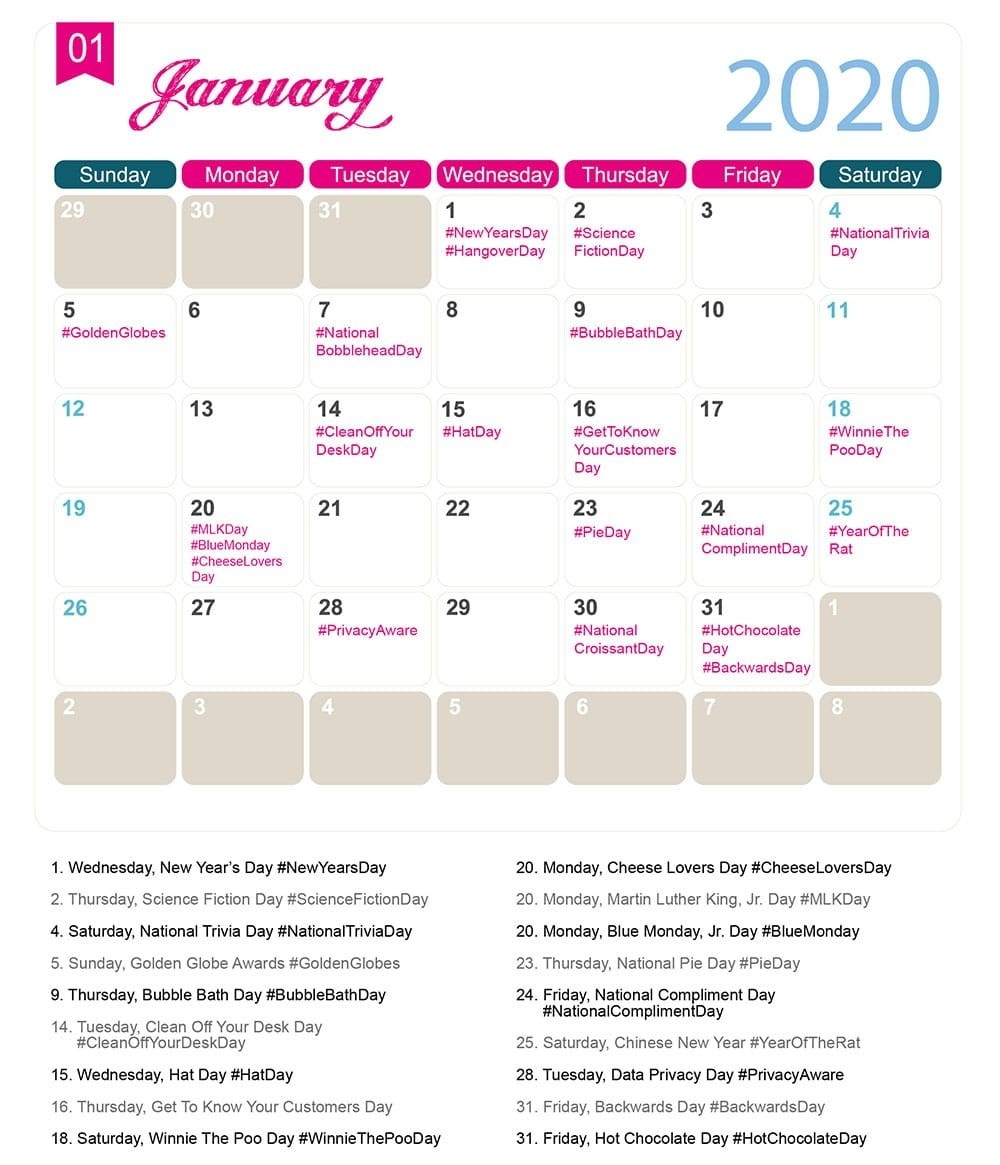 The 2020 Social Media Holiday Calendar - Make A Website Hub  National Food Days 2020