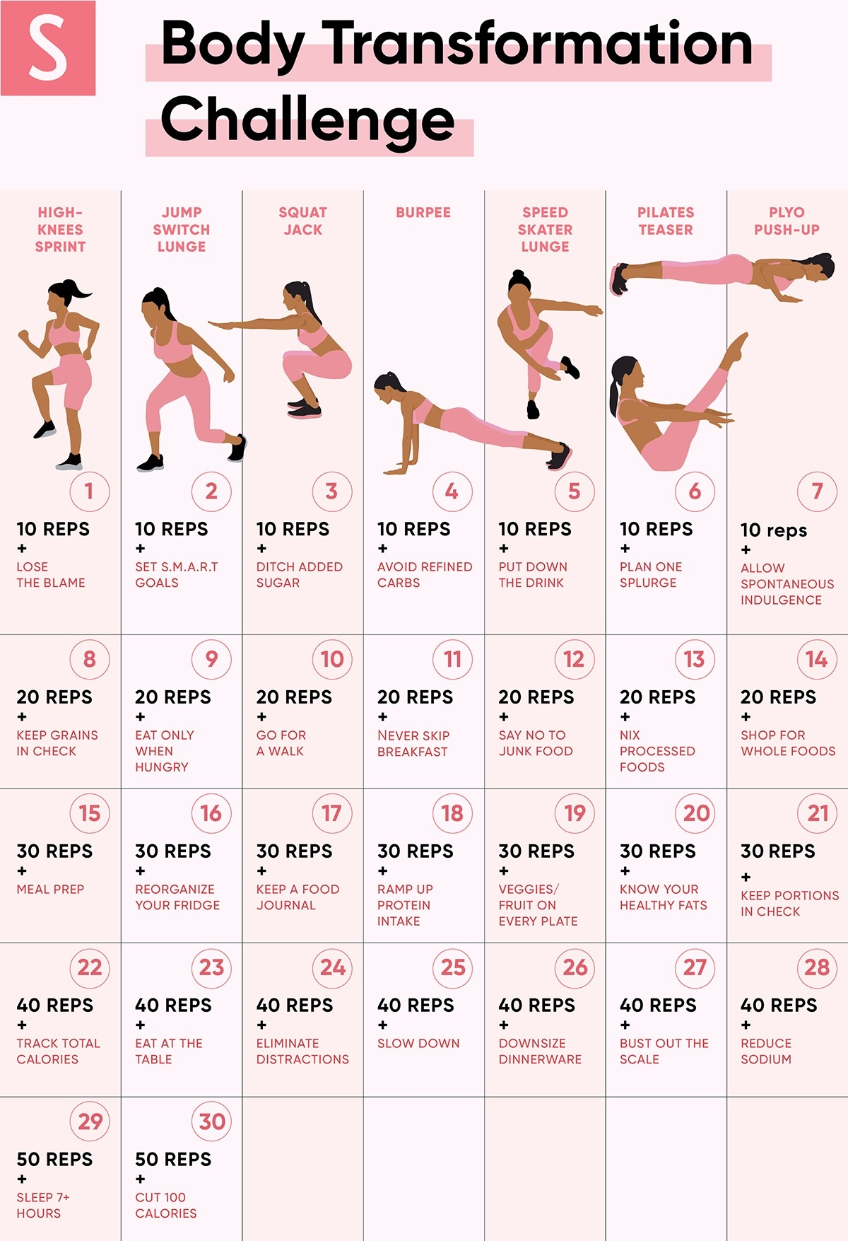 The 30-Day Weight Loss Challenge That Makes It Easier To  30 Exercise Chart For Beginners
