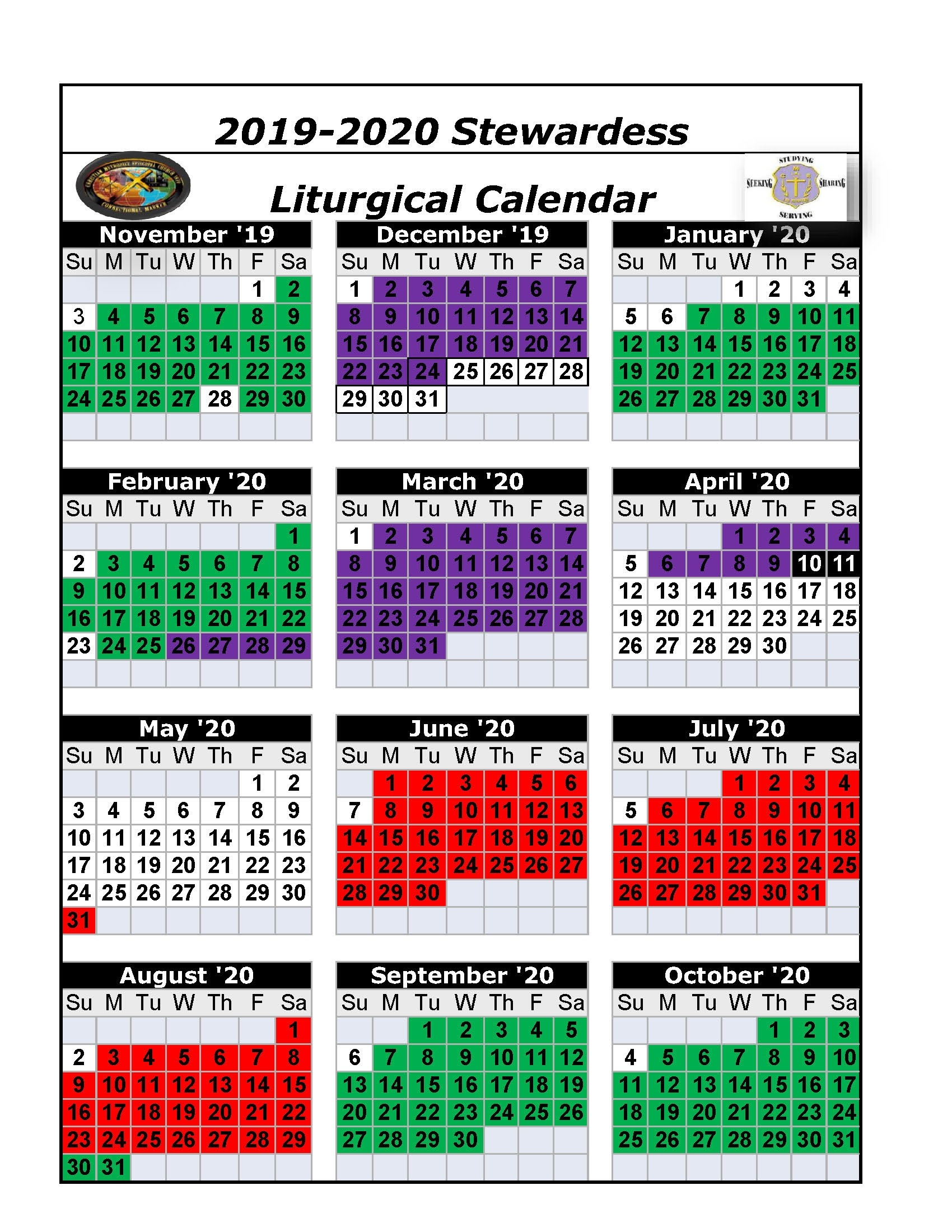 The Christian Methodist Episcopal Church  United Methodist Church 2020 Calendar