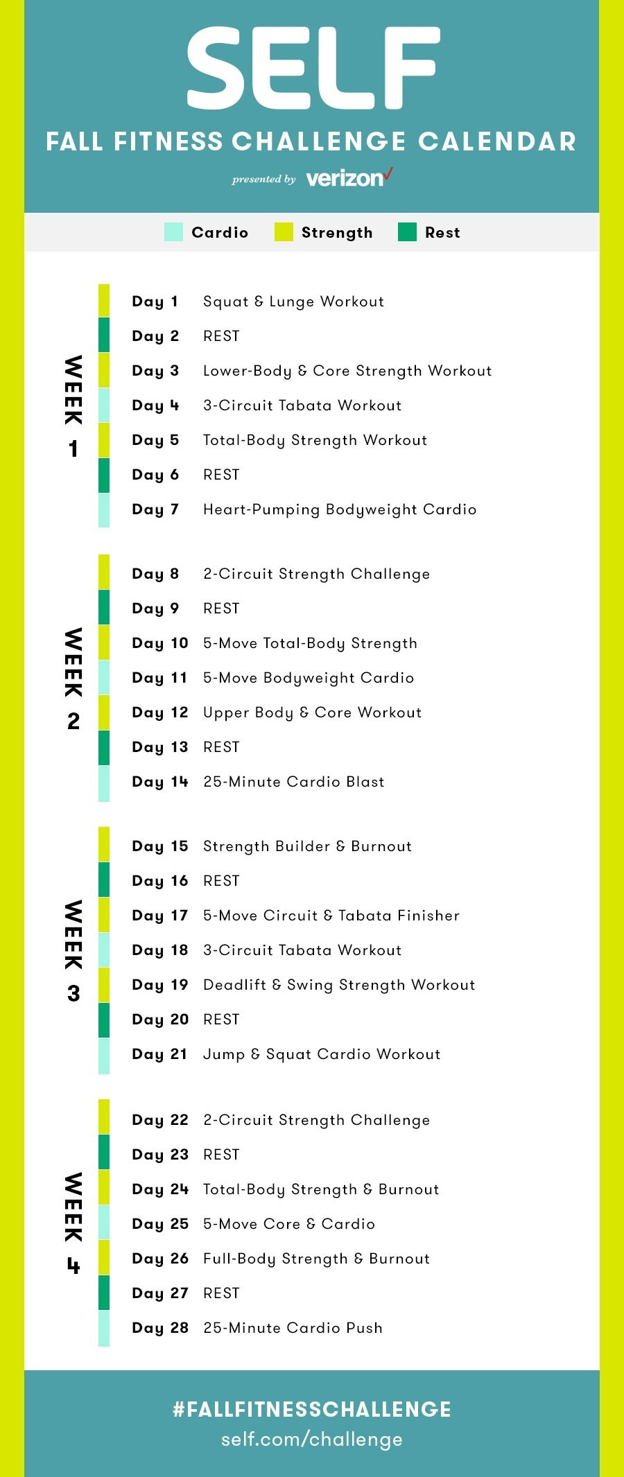 The Full Self Fall Fitness Challenge Calendar | Fall Fitness  Fitness Challeng Caladar