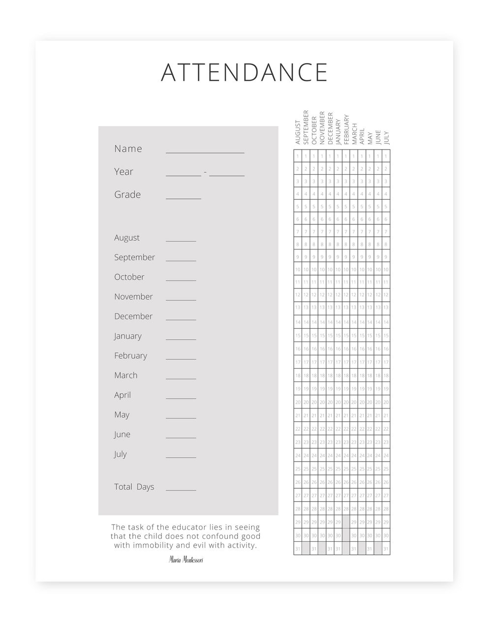 The Peaceful Press Homeschool Planner — The Peaceful Press  March 2020 Homeschool Attendence Tracker