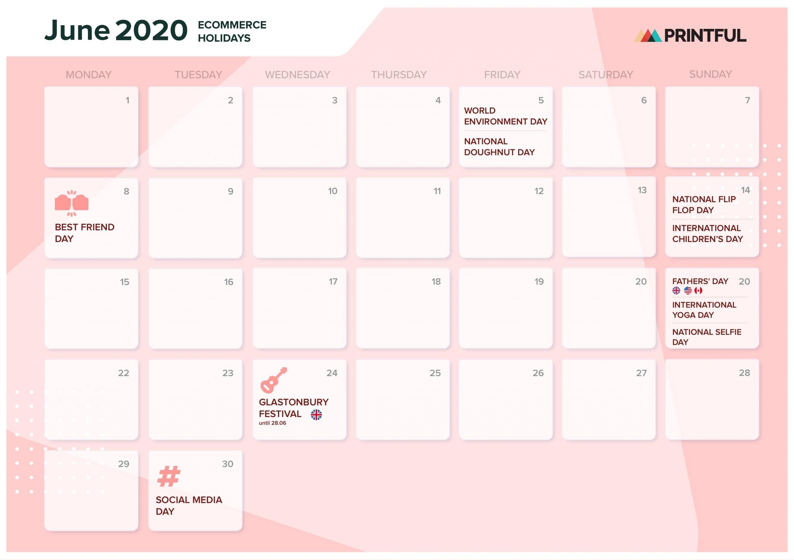 The Ultimate 2020 Ecommerce Holiday Marketing Calendar  Design 7 Days Calendar Pdf