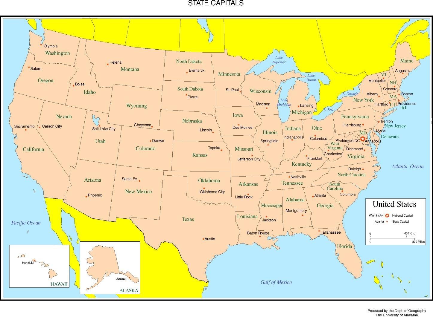 United States Labeled Map  United States Map