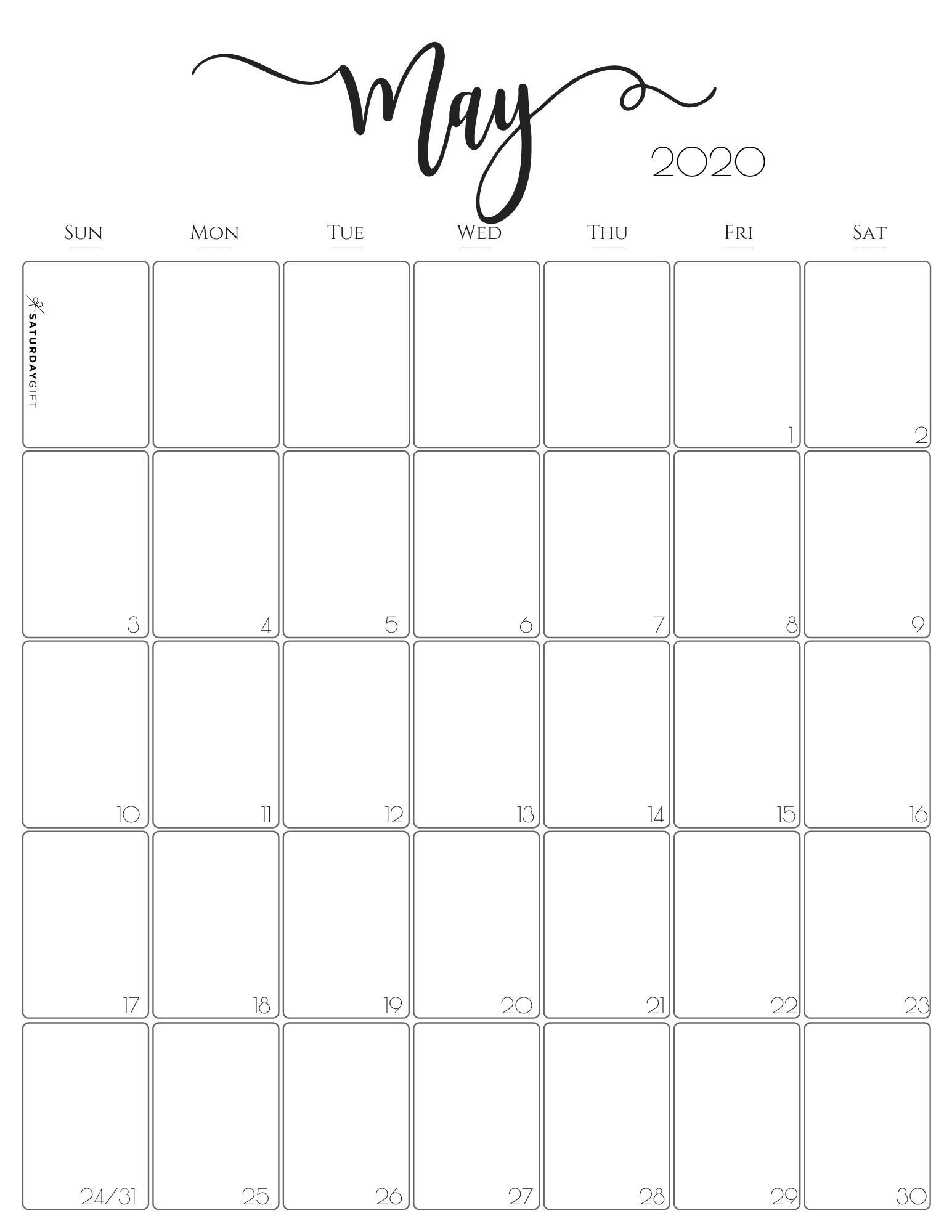 Vertical 2020 Monthly Calendar - Stylish (& Free  May 2020 Calendar