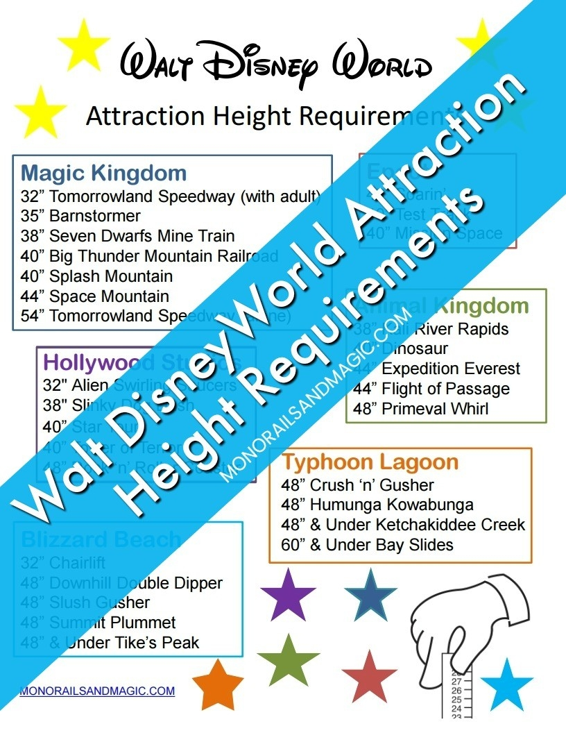 Walt Disney World Attraction Height Requirements  Printable List Of Disney World Rides 2020