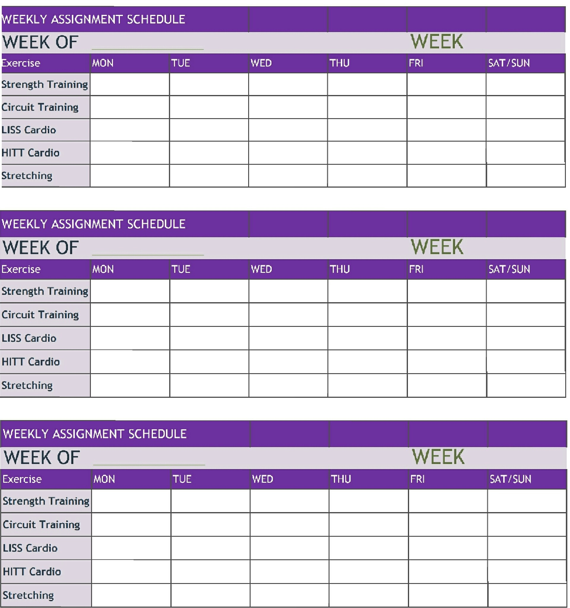 Weekly Assignment Schedule – The Social Junto  Weekly Assignment Log