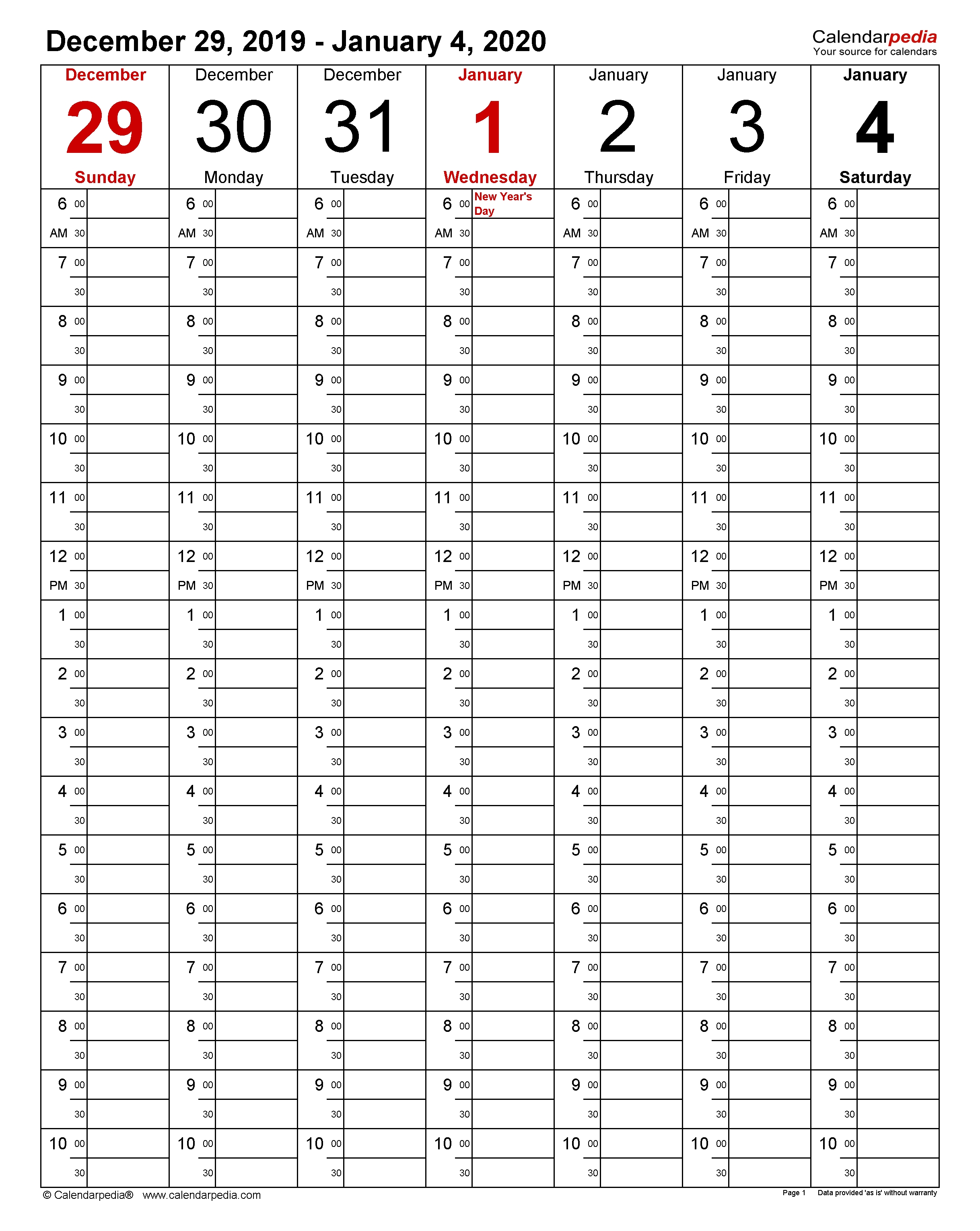 Weekly Calendars 2020 For Word - 12 Free Printable Templates  Calendar With Time