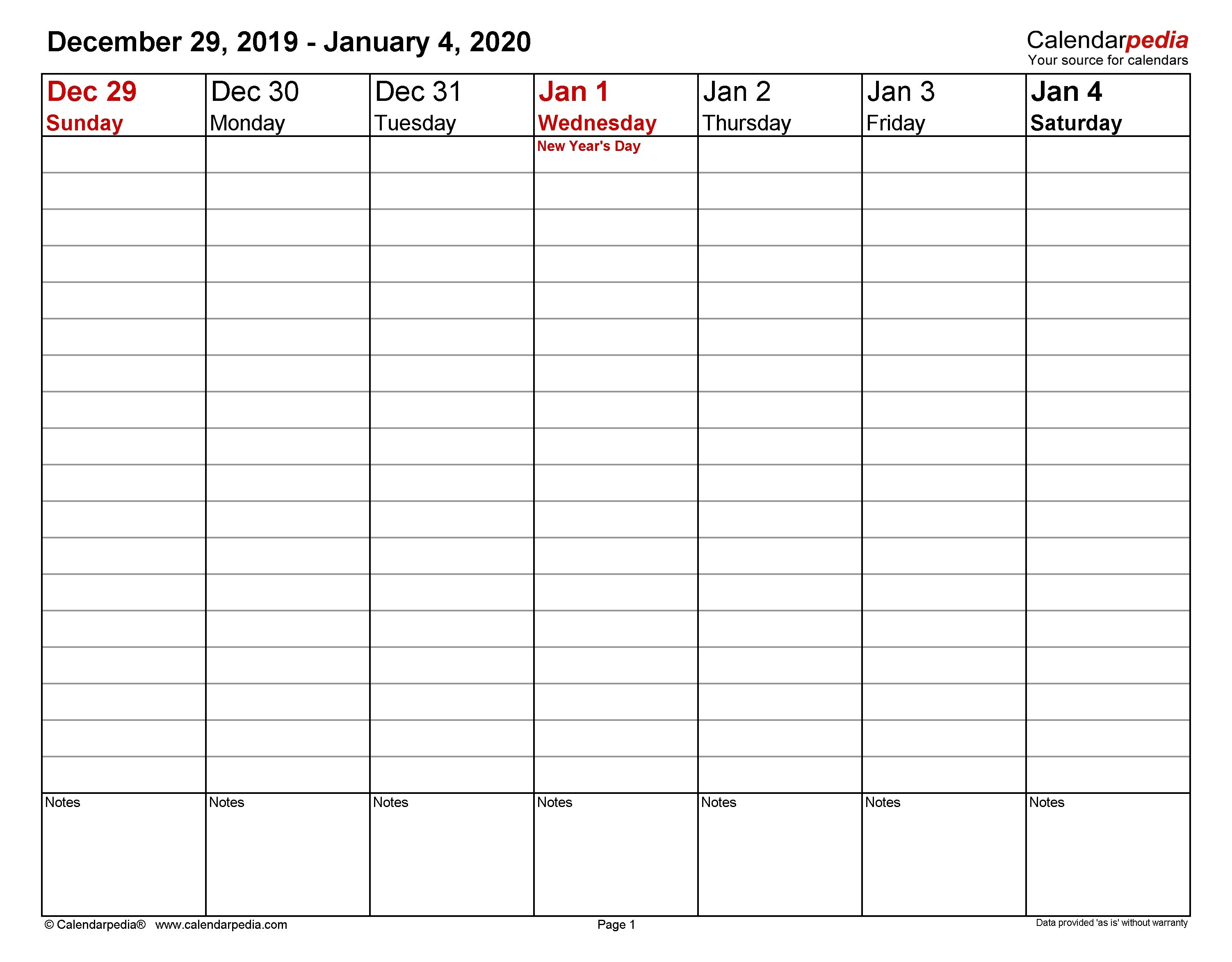 Weekly Calendars 2020 For Word - 12 Free Printable Templates  Weekly Calendar 2020
