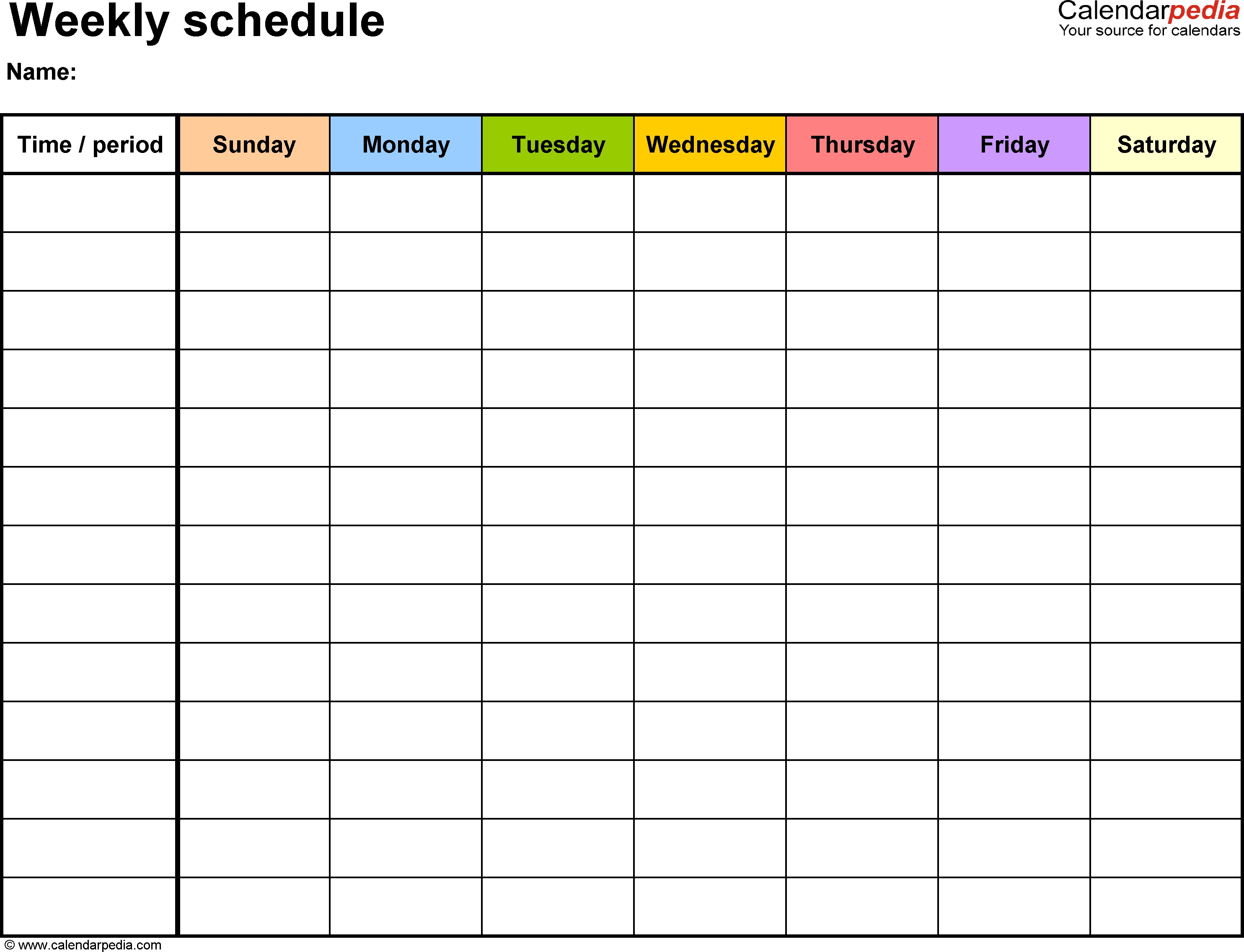 Weekly Schedule Template For Word Version 13: Landscape, 1  Design 7 Days Calendar Pdf