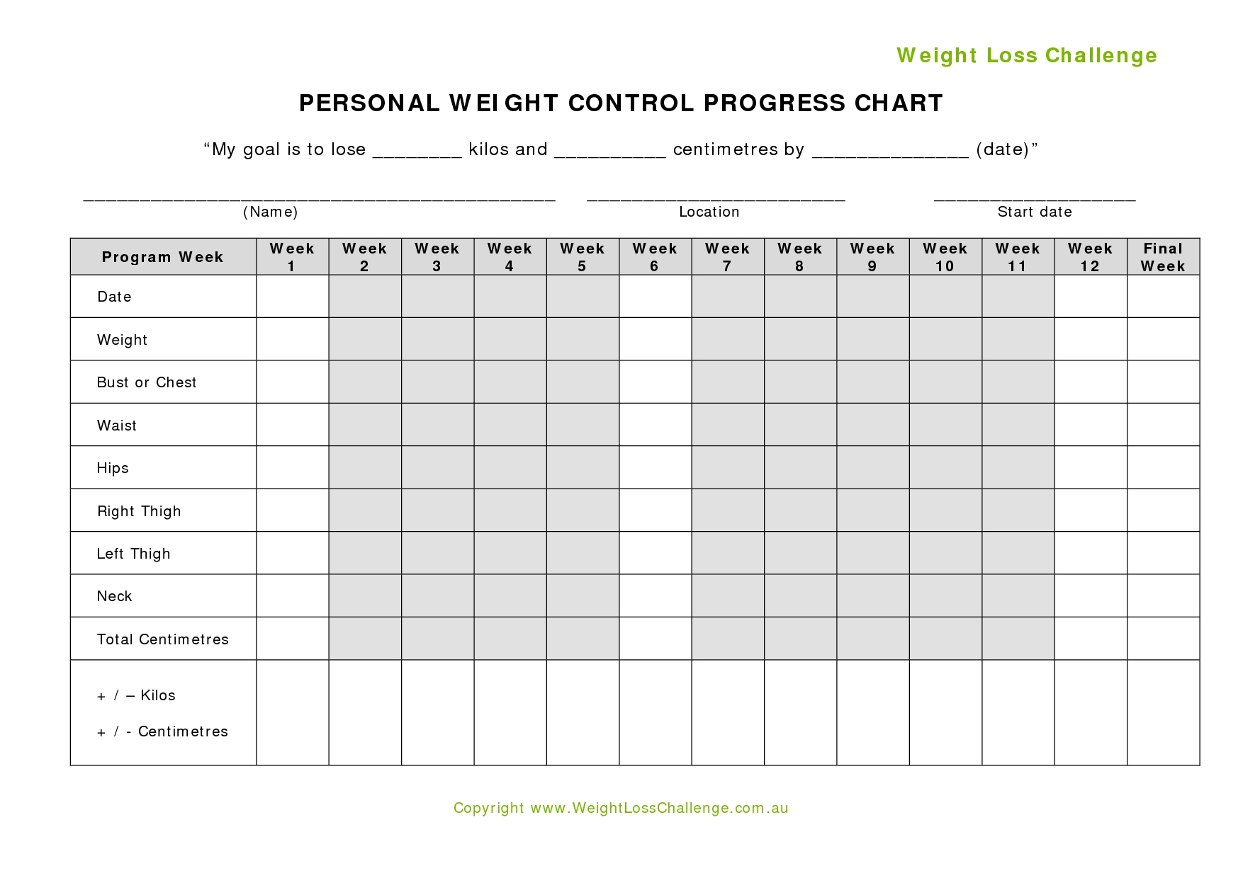 Weight Loss Challenge Tracker - Akali  Fitness Challenge Tracker Templates