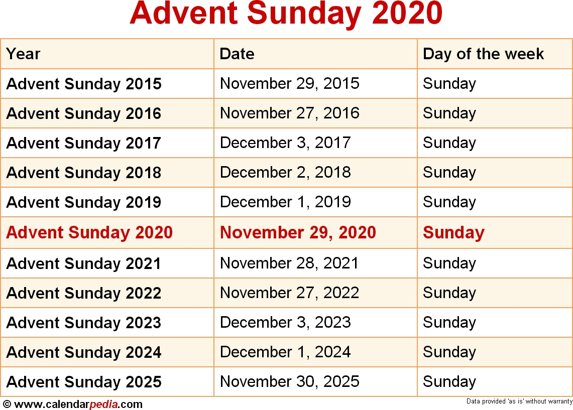 When Is Advent Sunday 2020?  Printable Methodist 2020 Liturgical Calendar
