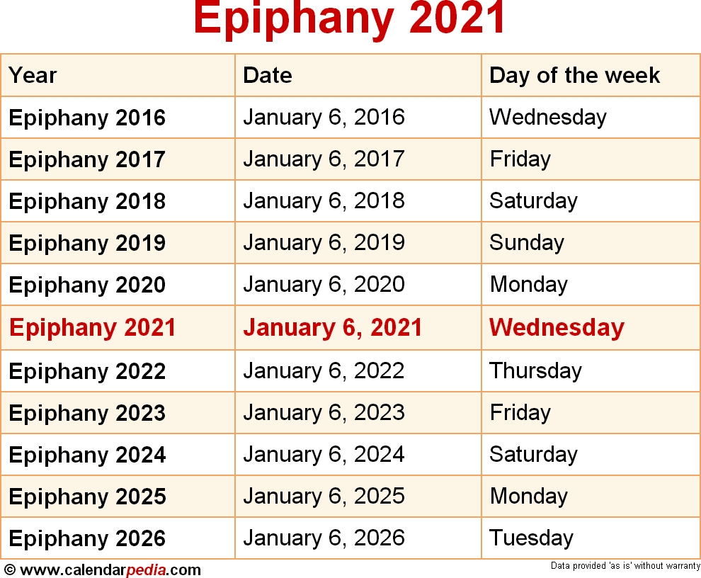 When Is Epiphany 2021?  W2020 Litergical United Methodist Calendar