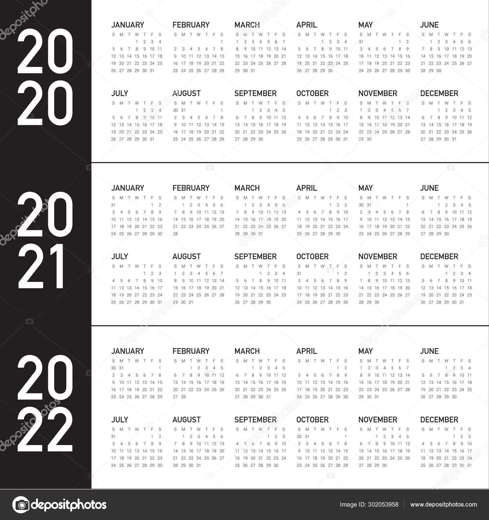 Year 2020 2021 2022 Calendar Vector Design Template — Stock  Depo Calendar 2021