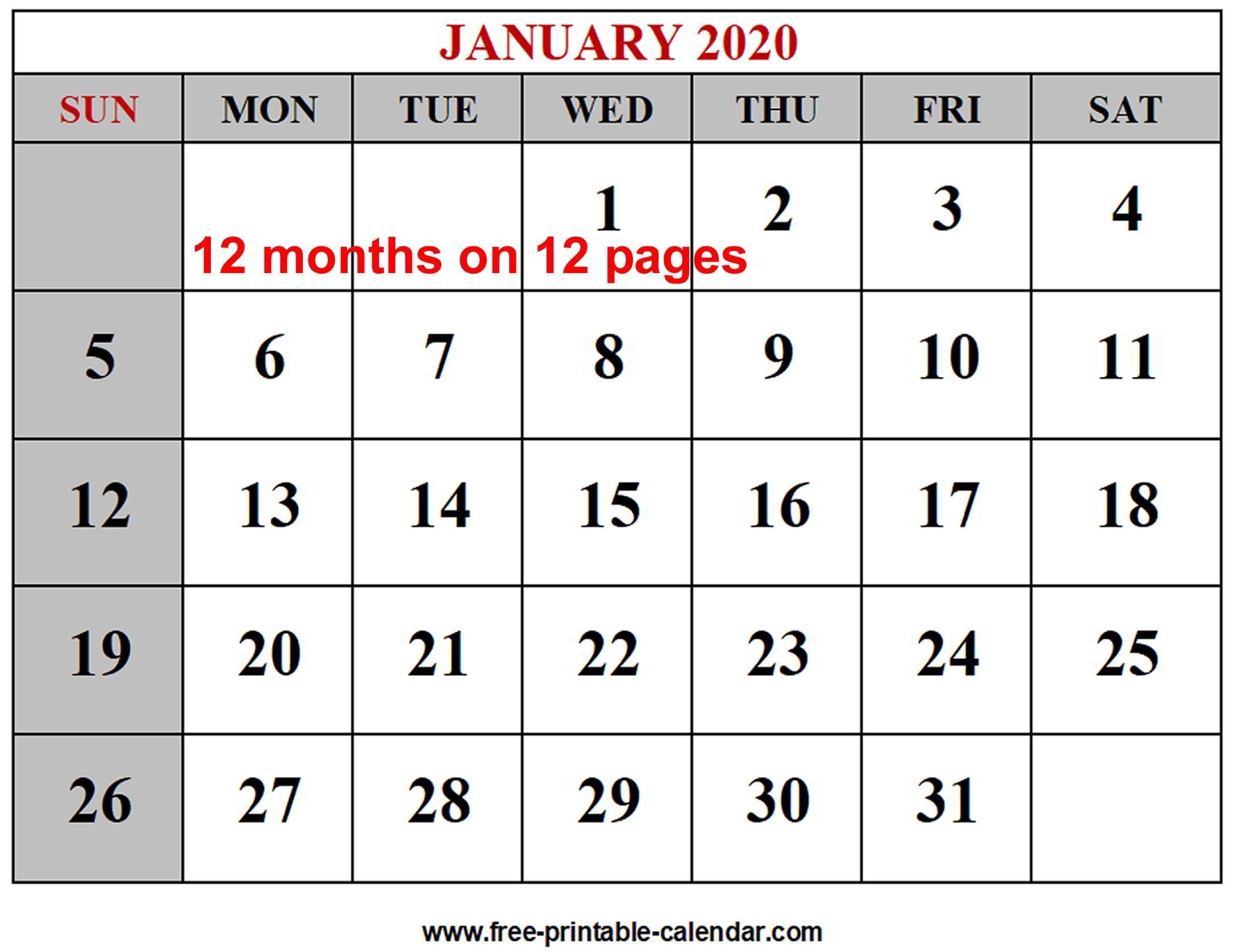 Year 2020 Calendar Templates - Free-Printable-Calendar  Free 12 Month Printable Calendars