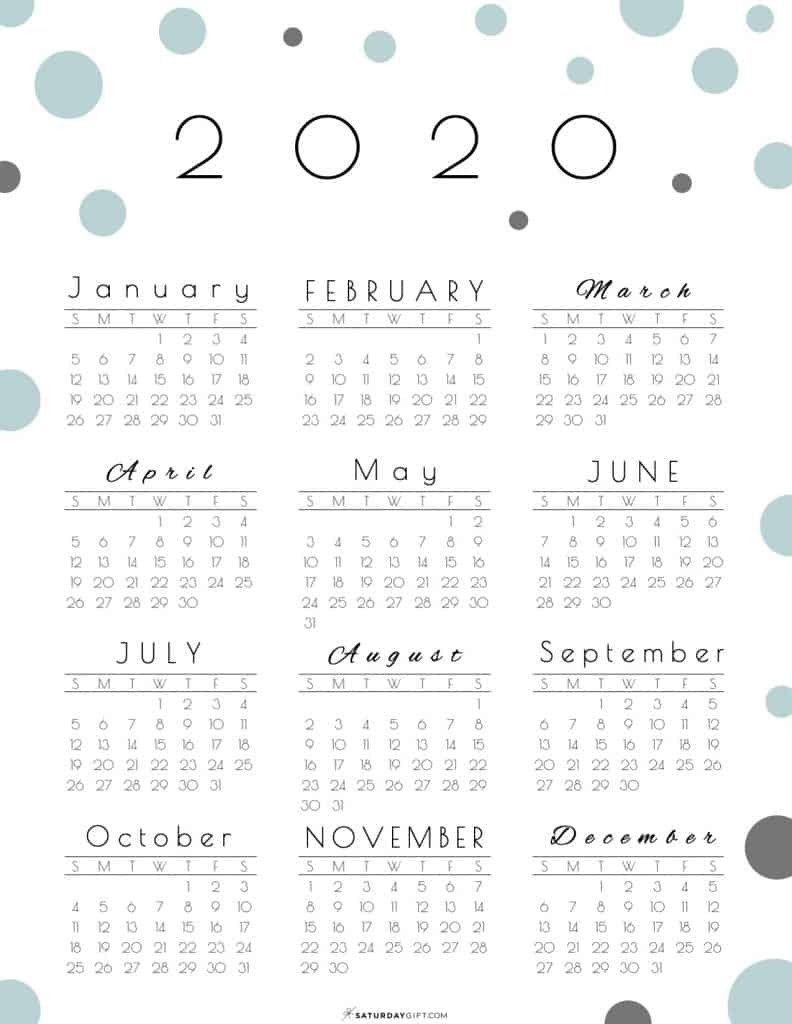 Year At A Glance Calendar 2020 - Pretty (And Free!) Printable  One Page Yearly 2020 Calendar Free Printable