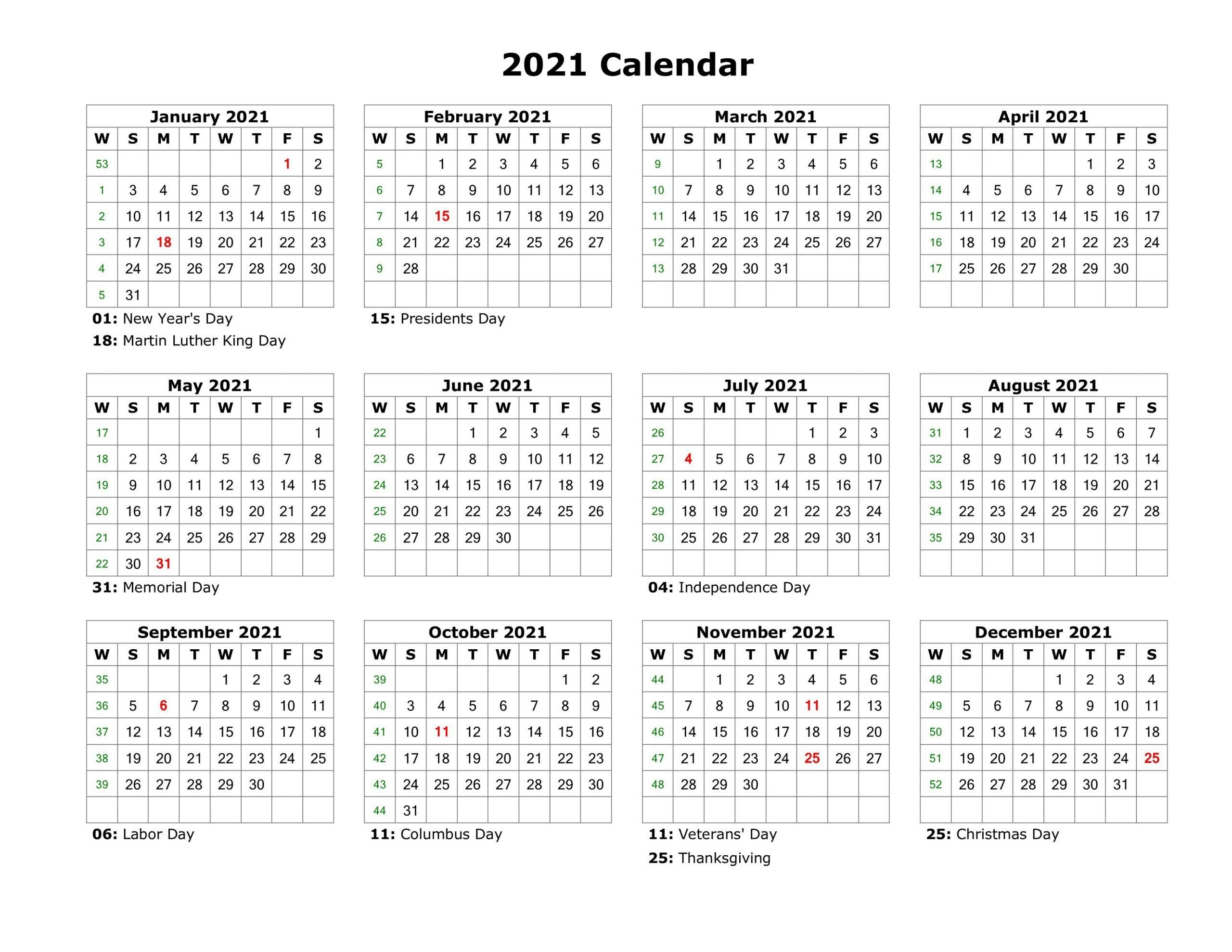 Year At A Glance Calendar 2021 Printable Free For  2021 Free Printable Calendars Without Downloading