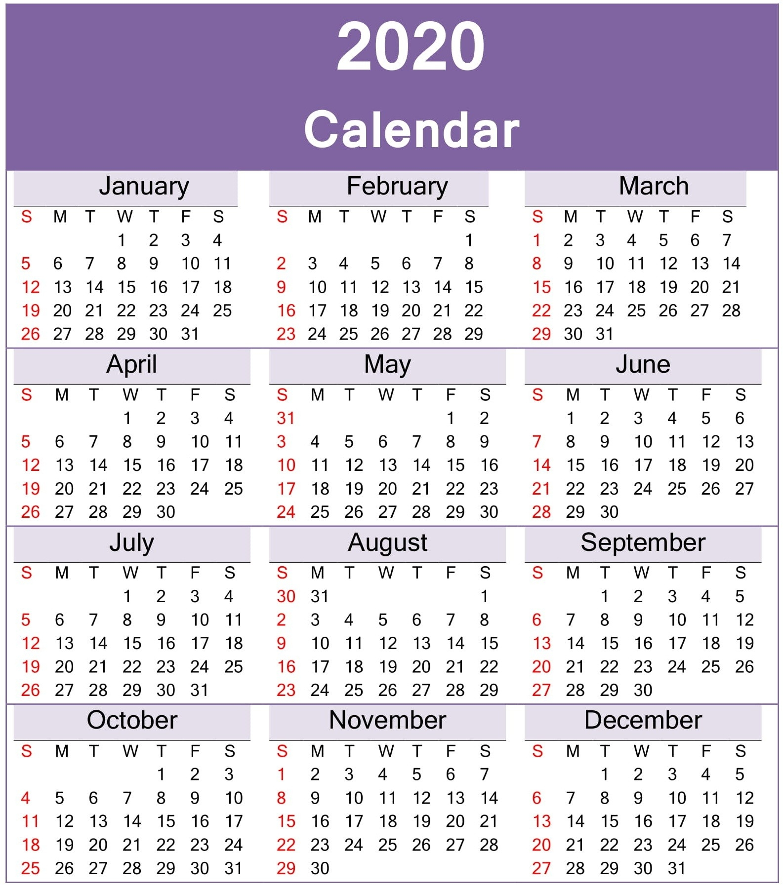 Yearly 2020 Calendar Excel Template - Latest Printable  Calendar 2020 Printable One Page