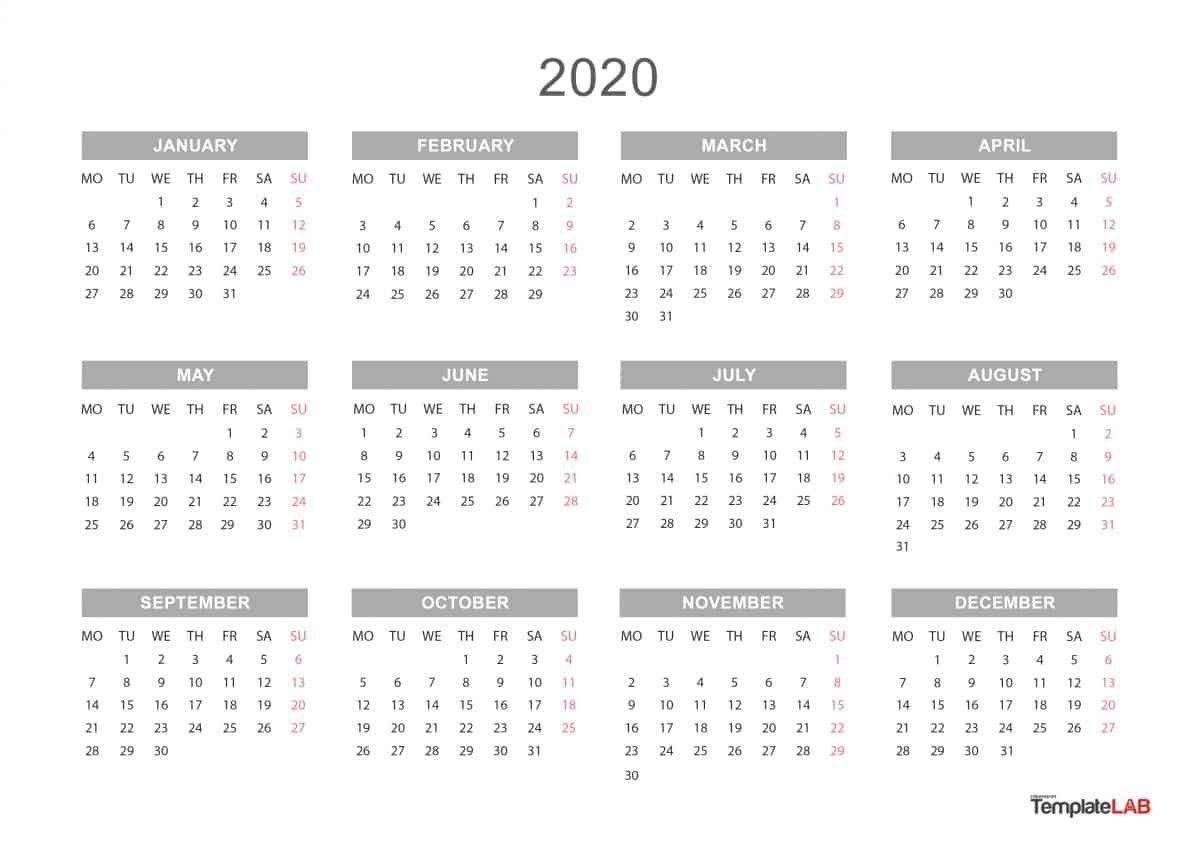 Yearly Calendar 2020 Printable | Calendar Template, Calendar  2020 Calendar Year Printable