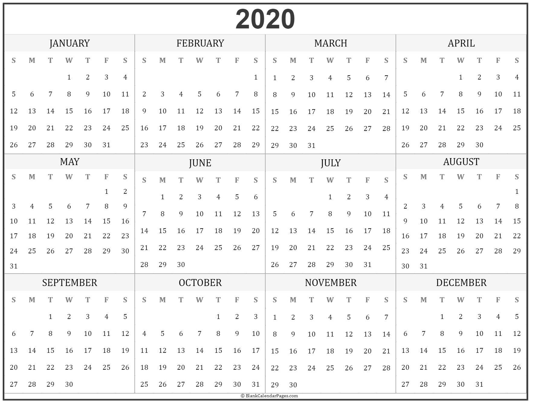 Yearly Calendar For 2020 - Akali  Yearly Calendars 2020
