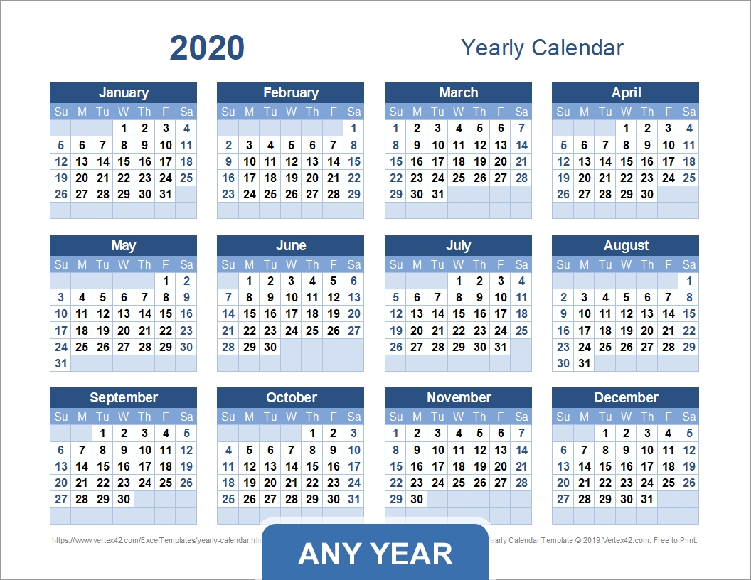 Yearly Calendar Template For 2020 And Beyond  Yearly Calendars 2020