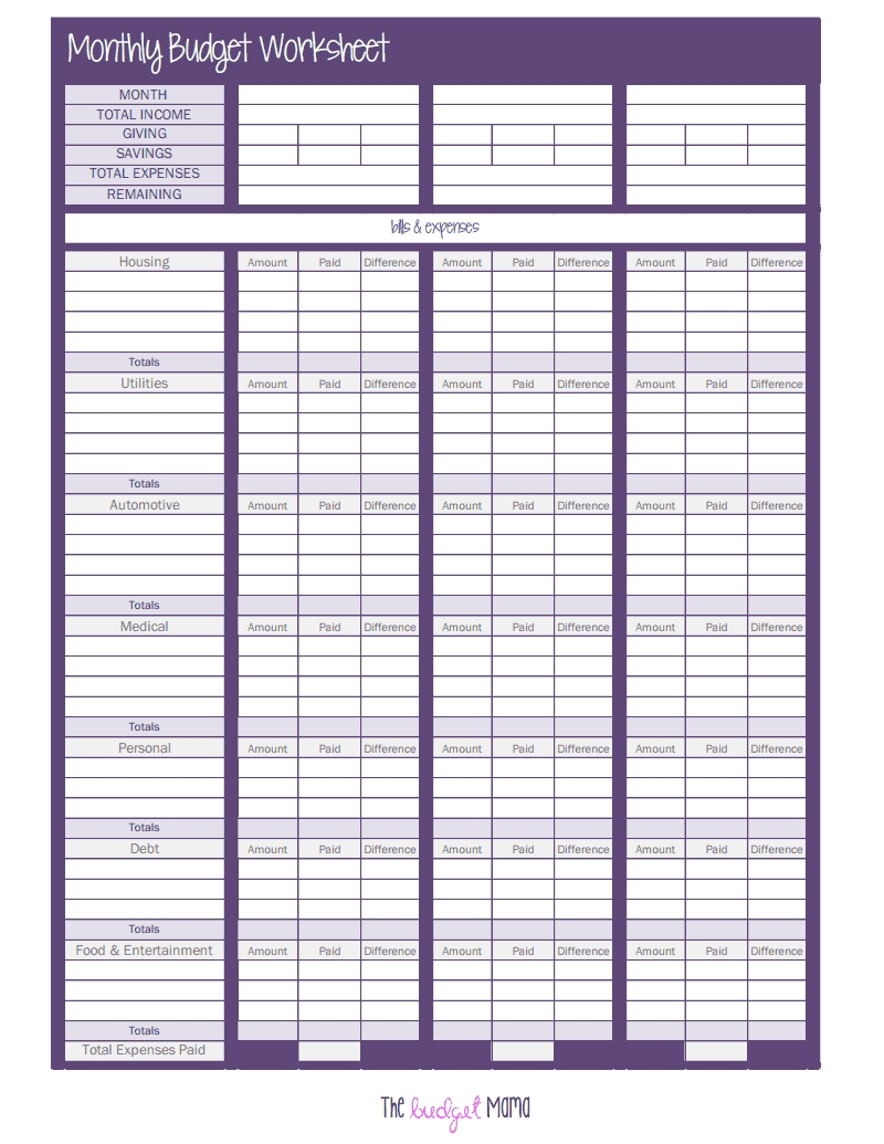 103374547-The-Monthly-Budget-Worksheet.pdf - Google Drive  Monthly Bill Worksheet Pdf