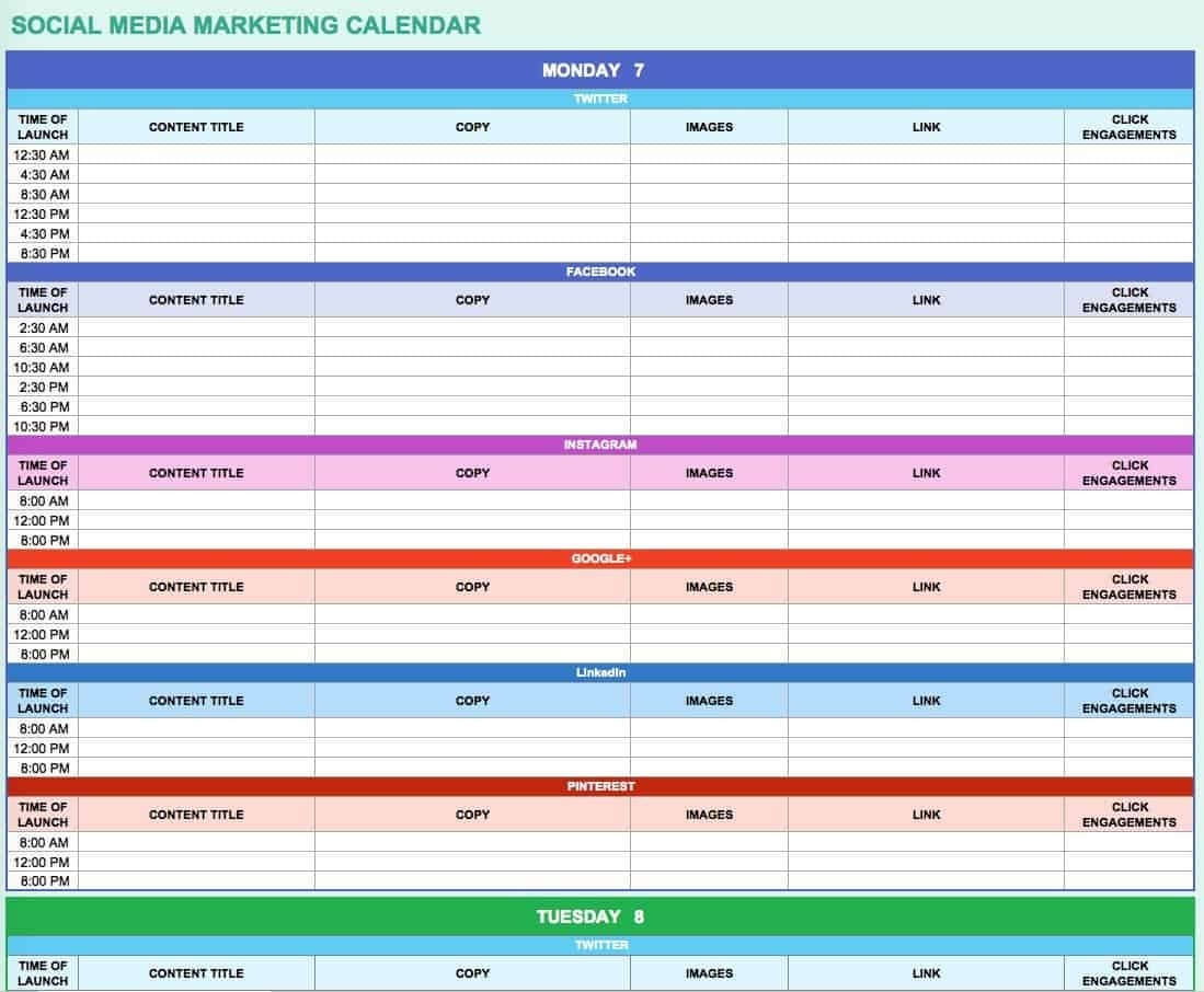 15+ Free Marketing Calendar Templates | Smartsheet  Facebook Monthly Calendar Free Template