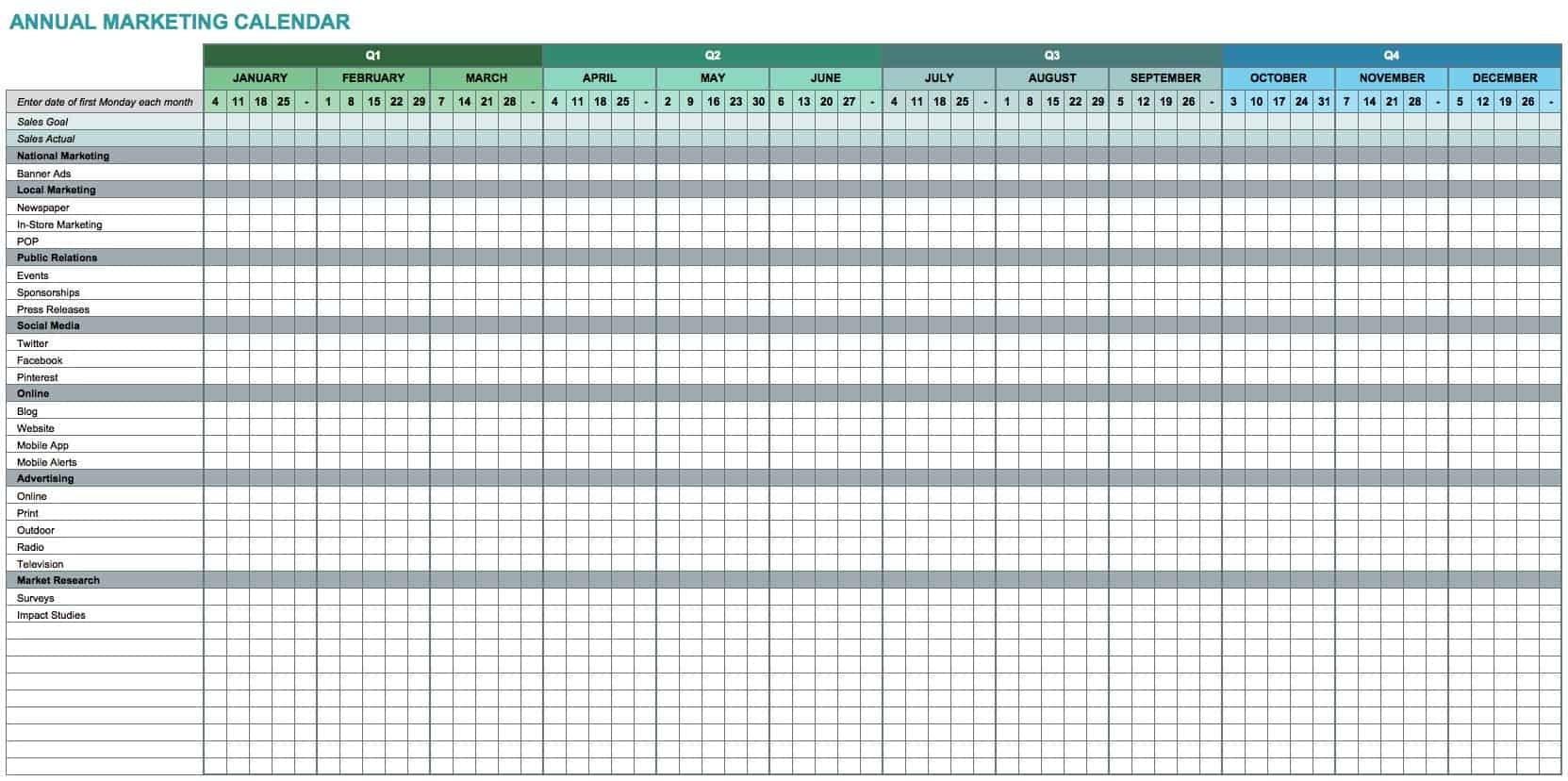 15+ Free Marketing Calendar Templates | Smartsheet  Monthly Calendar Payment Excel Template
