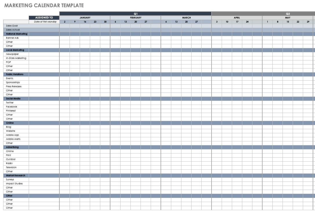 15+ Free Marketing Calendar Templates | Smartsheet  Social Media Calendar Template Excel Free