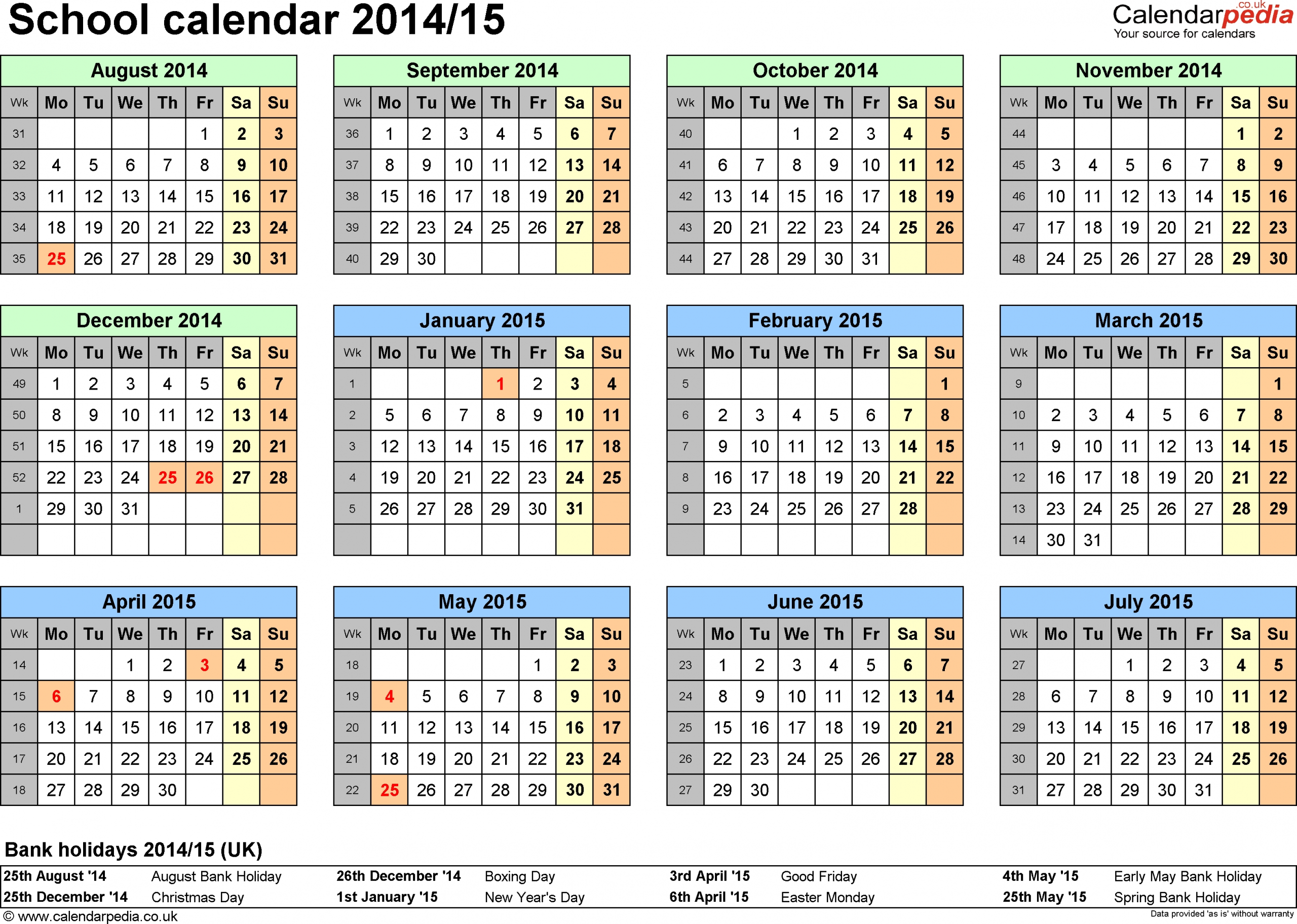 16 Blank Calendar Template 2014 2015 Images - August 2015  2014-2015 Financial Year Calendar Australia