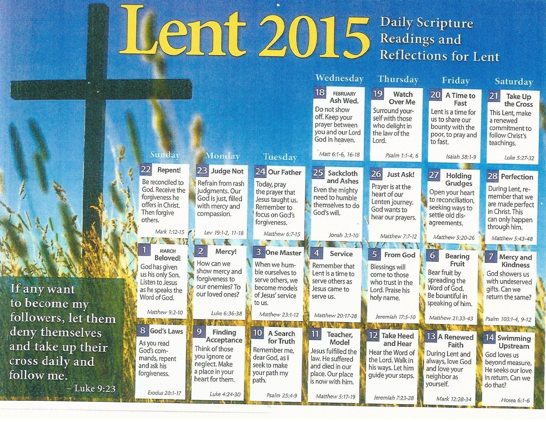 2016 Liturgical Calendar Presbyterian Church | Lent, Daily  Methodist Lent Calendar