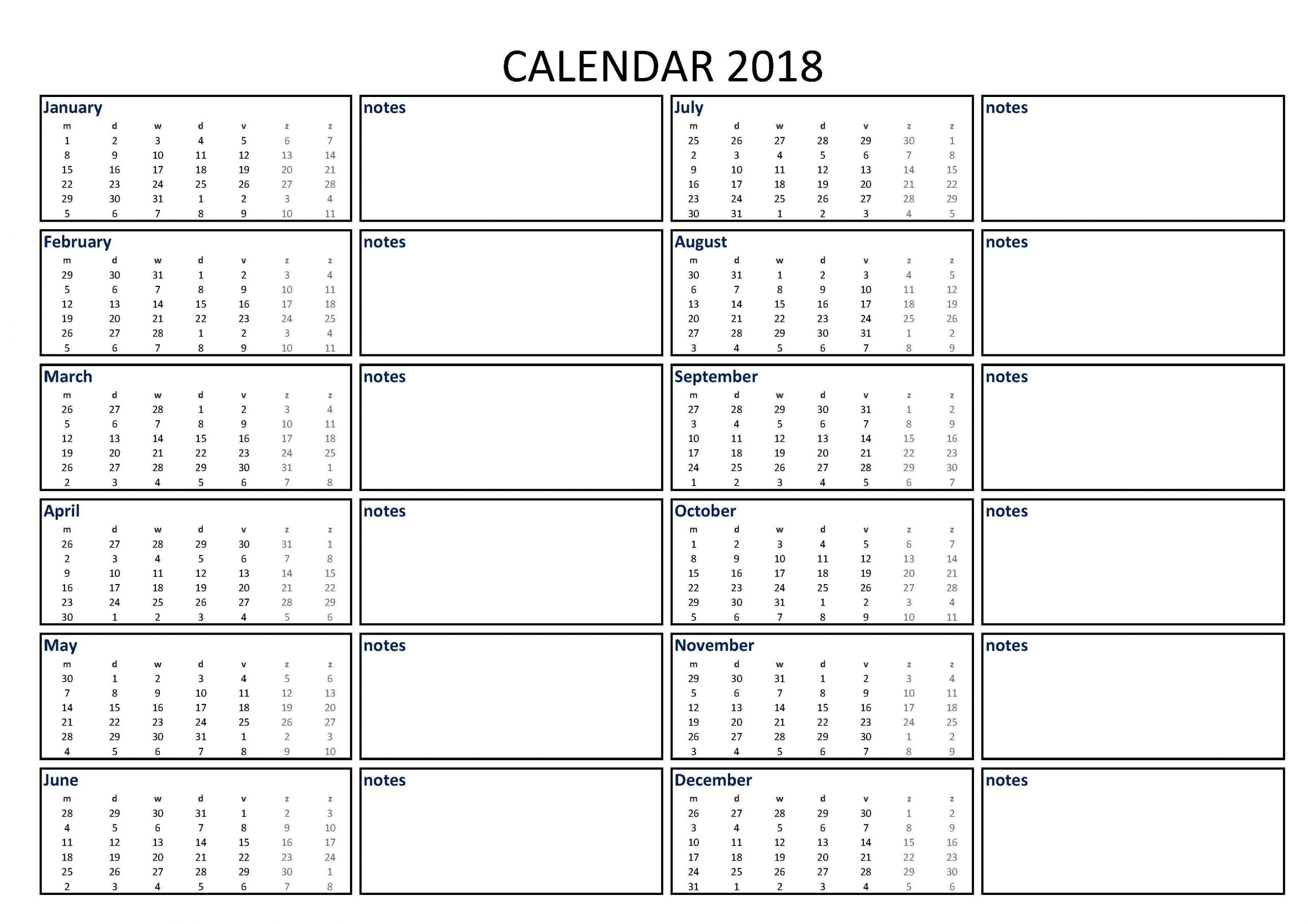 2018 Calendar Excel A3 With Notes - Download Our Free  A3 Calendar Template