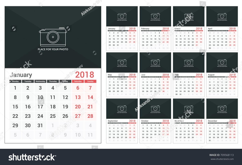 2018 Calendar Template A3 Size Place Stock Vector (Royalty  A3 Calendar Template