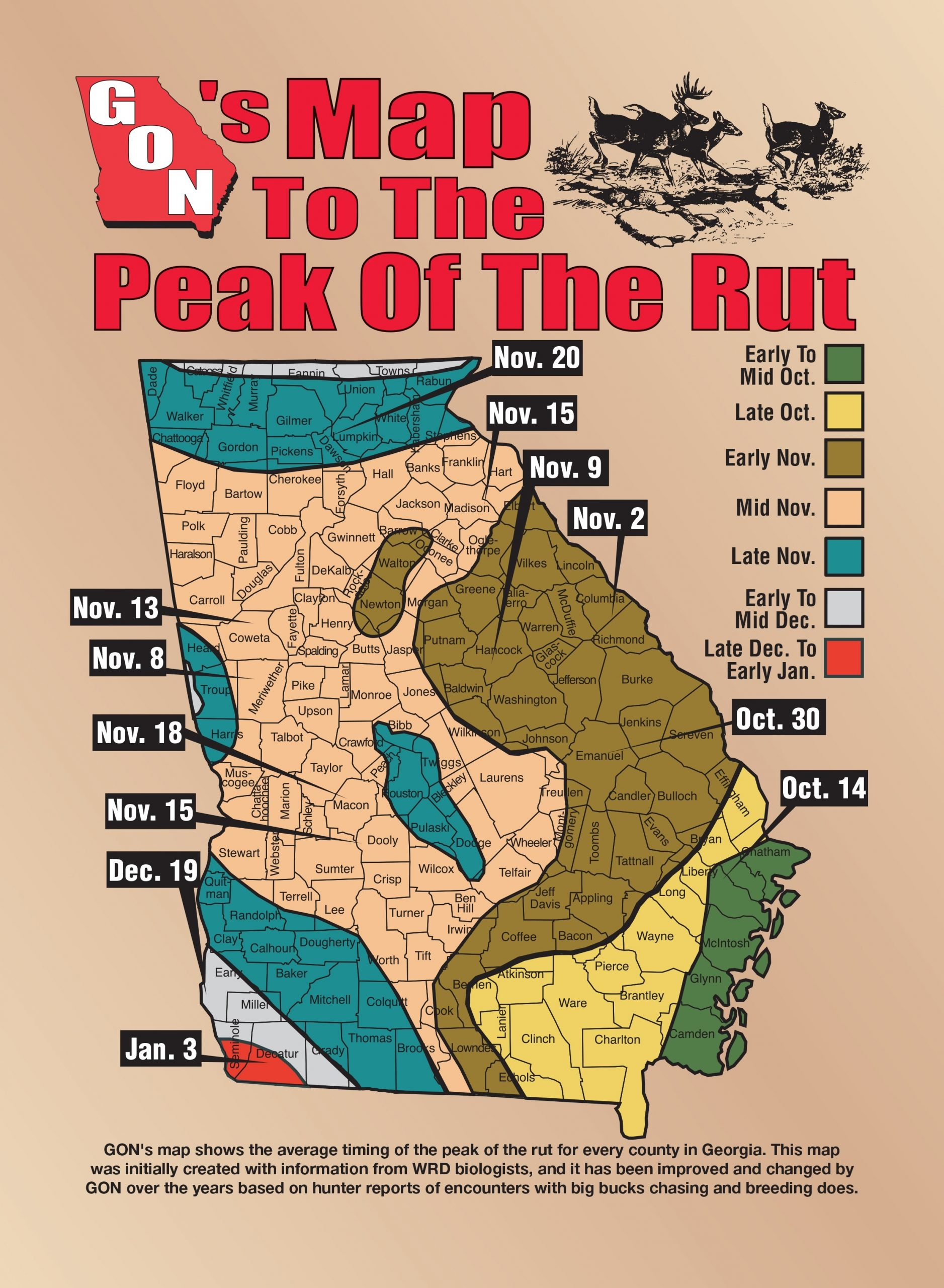 2018 Georgia Rut Map  Ga Deer Rut Dates By County