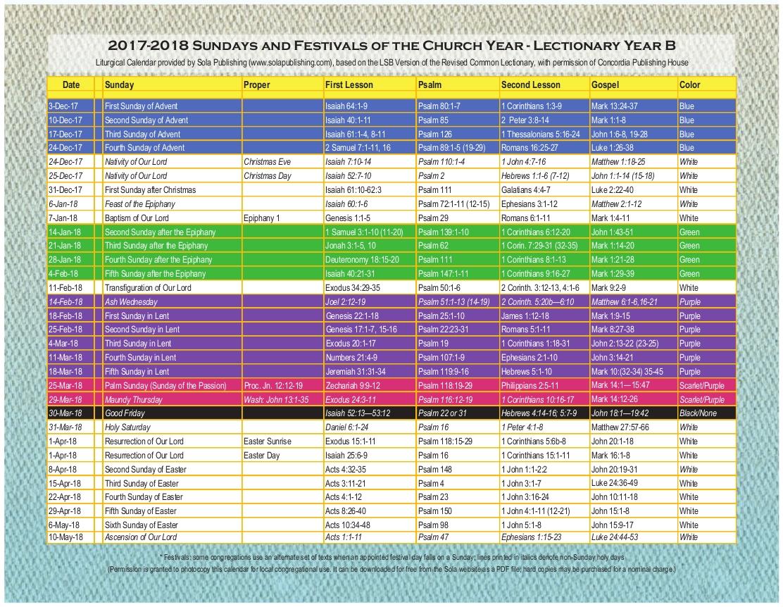 2018 Liturgical Calendar (Year B 2017-2018) K-2018 | Sola  Printable Lectionary Calendar