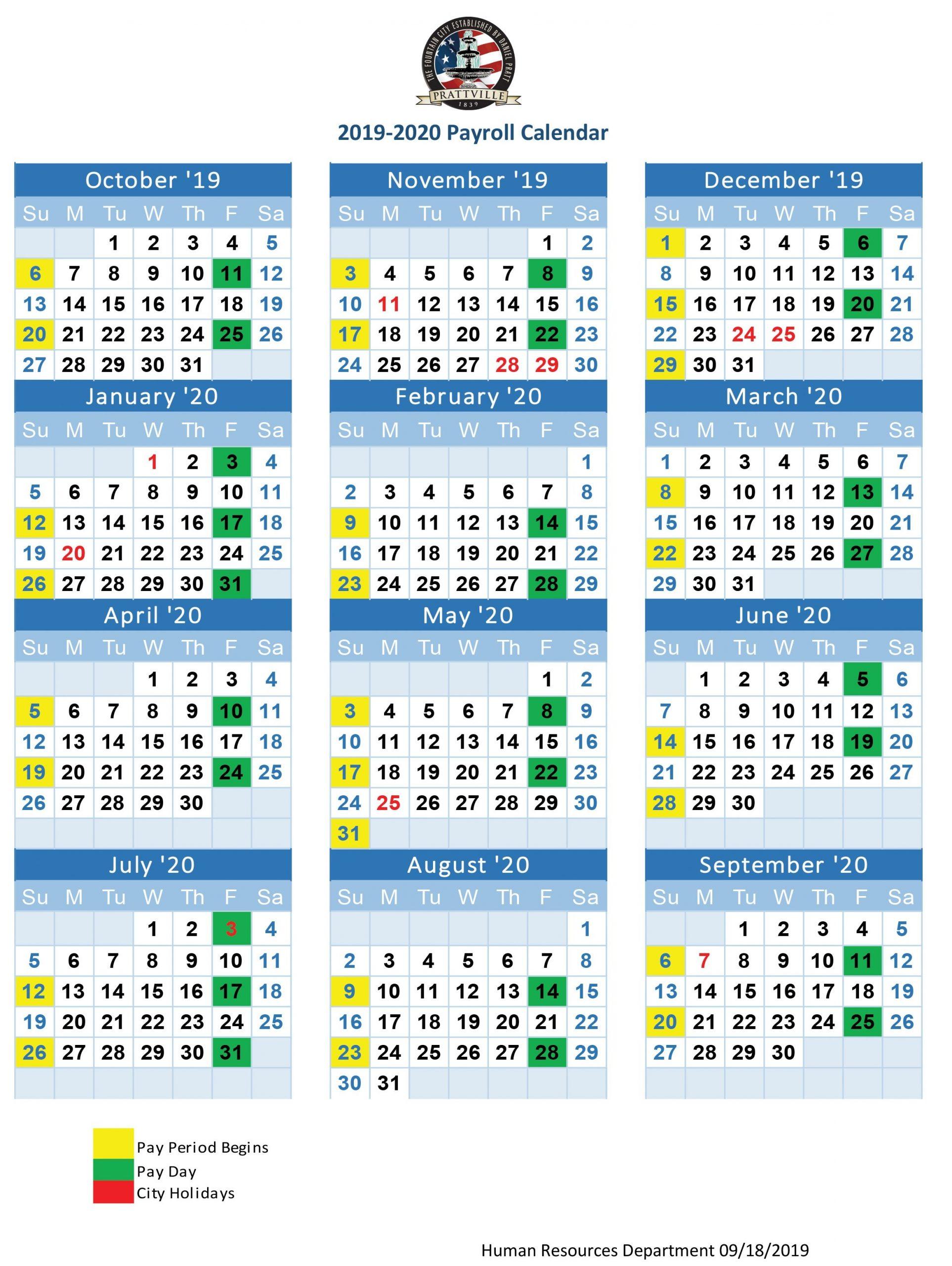 2019-20 Payroll Calendar | Human Resources : Prattville  Federal Pay Period Calendar