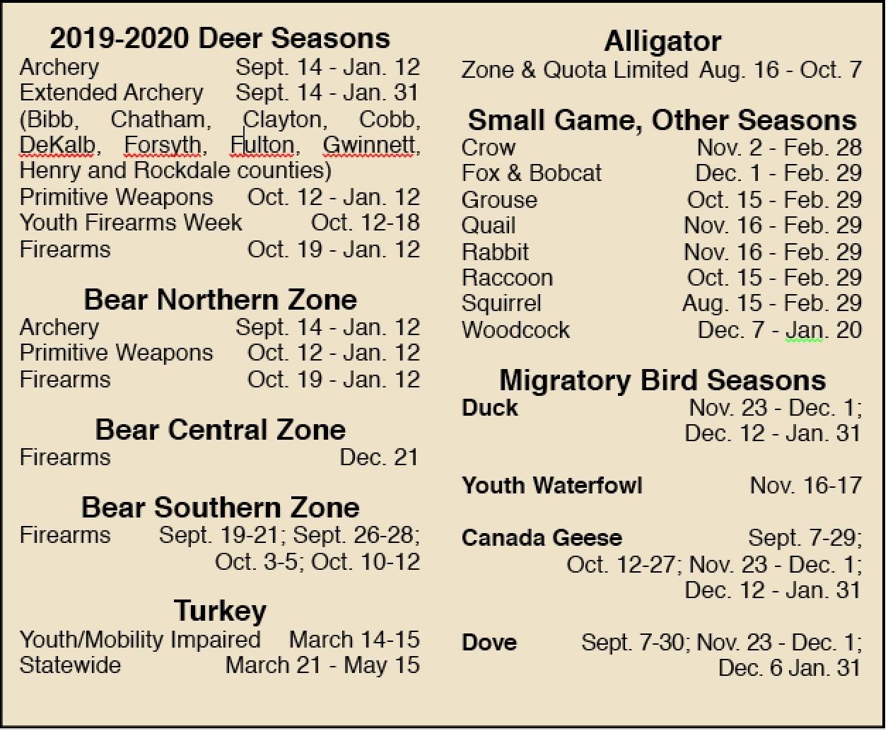 2019-2020 Guide To Georgia Hunting Season Dates  Deer Season For 2021 In Georgia