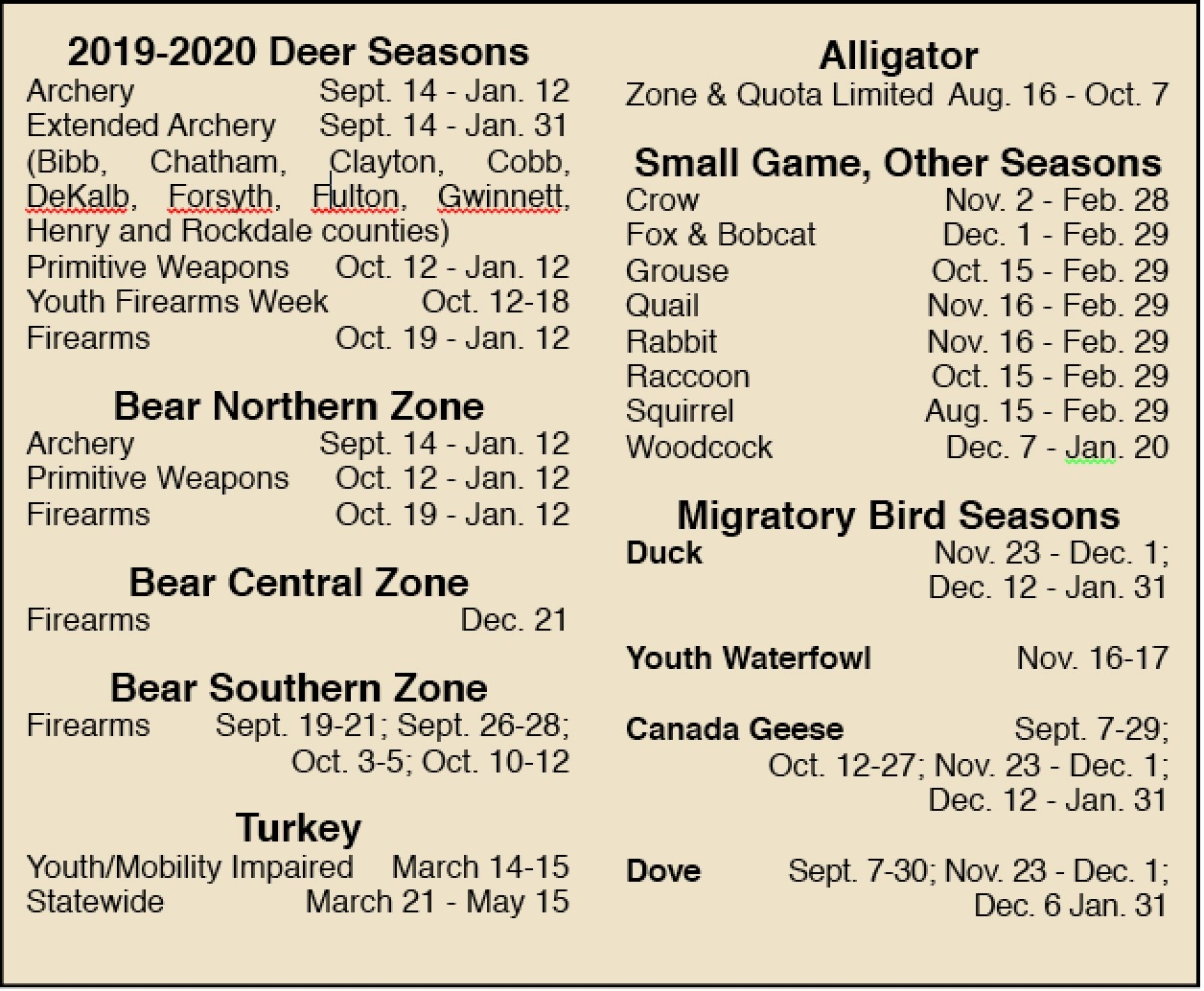2019-2020 Guide To Georgia Hunting Season Dates  Georgia Deer Hunting Map