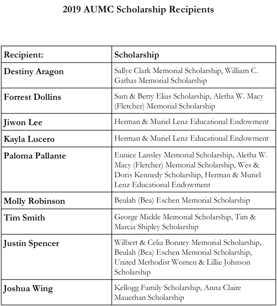 2019 Aumc Scholarship Recipients – Anaheim Umc  Umc Lectionary 2021