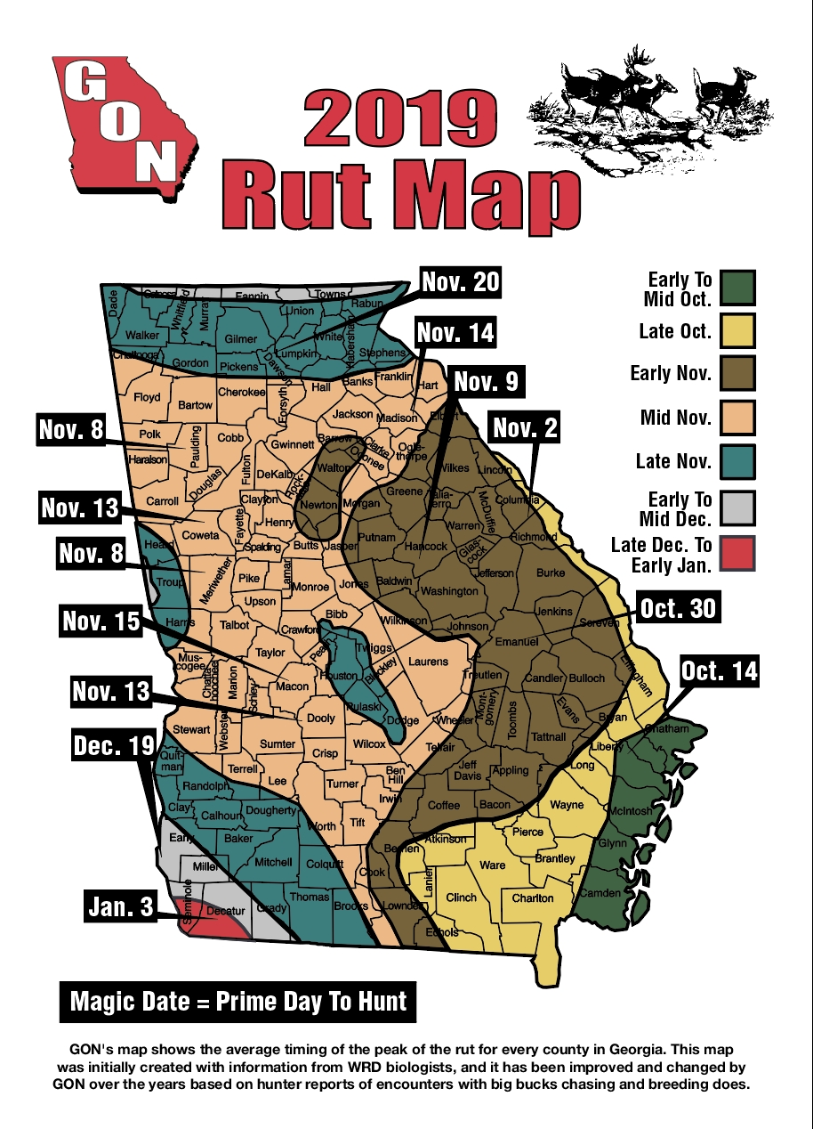 2019 Georgia Rut Map  Ga Deer Rut Dates By County
