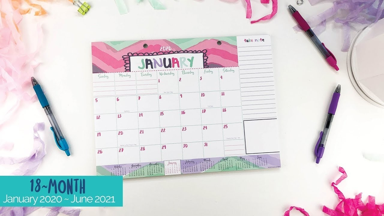 2020-2021 Mini Monthly Desk Calendar | January 2020 - June 2021 | Lists,  Bill Pay And More!  Bill Pay Calendar 2021
