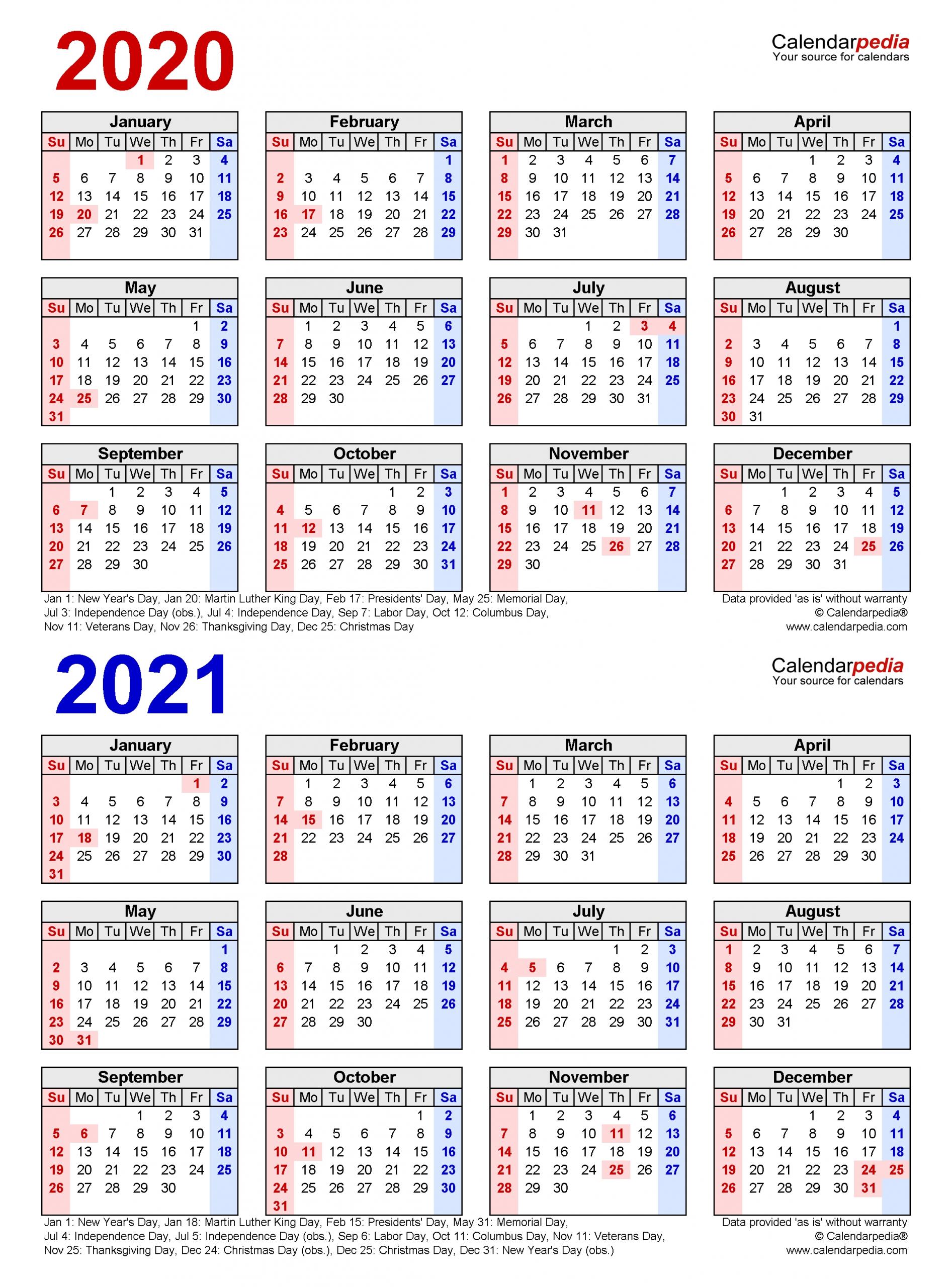 2020-2021 Two Year Calendar - Free Printable Excel Templates  Fiscal Year Au Calendar 2021/20