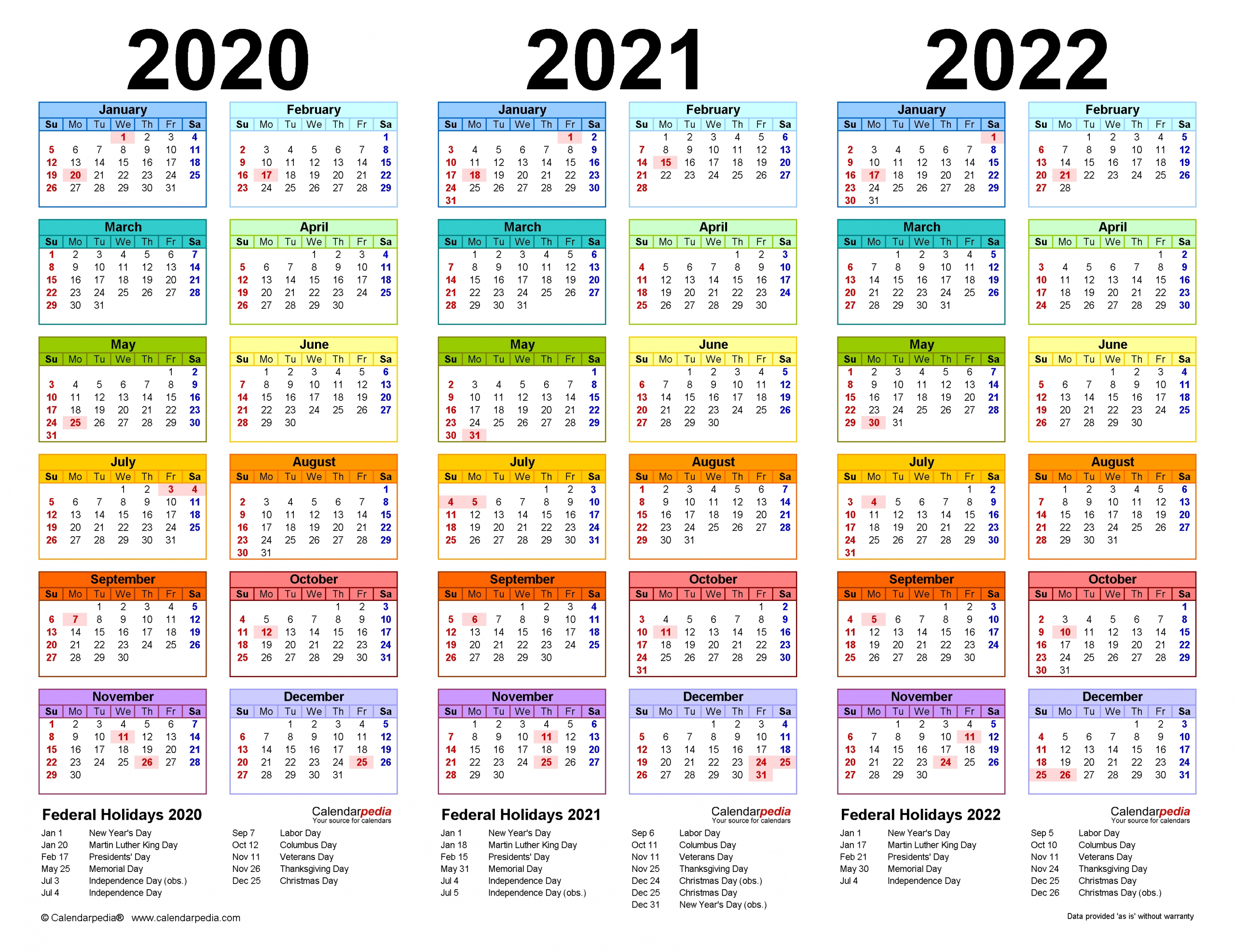 2020-2022 Three Year Calendar - Free Printable Pdf Templates  Small Mini Checkbook Size Calenders