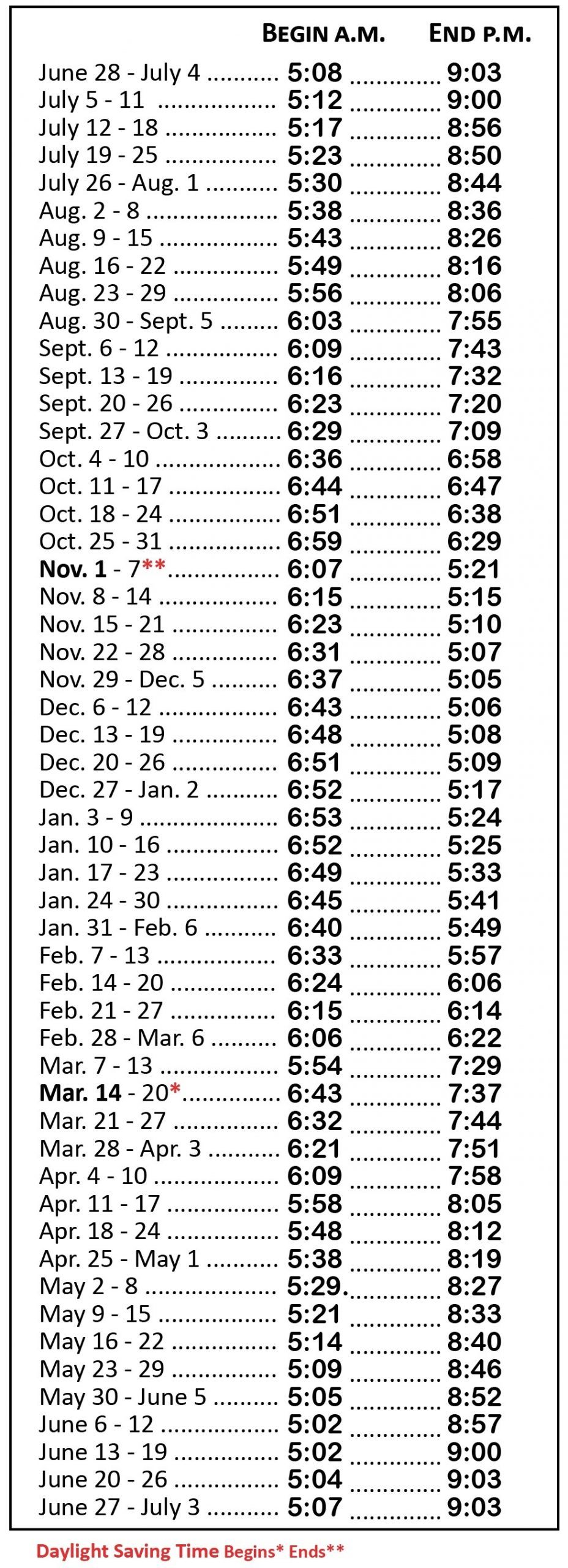 2020-21 Hunting Hours Table  Indiana Rut Calendar