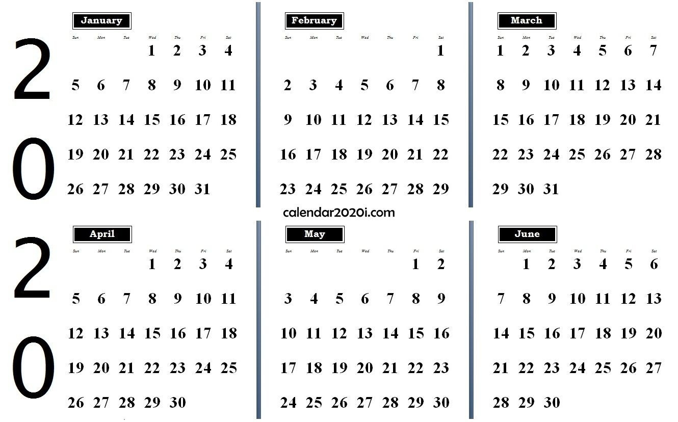 2020 6 Months Calendar From January To June In 2020  6 Month Calendar Template Word