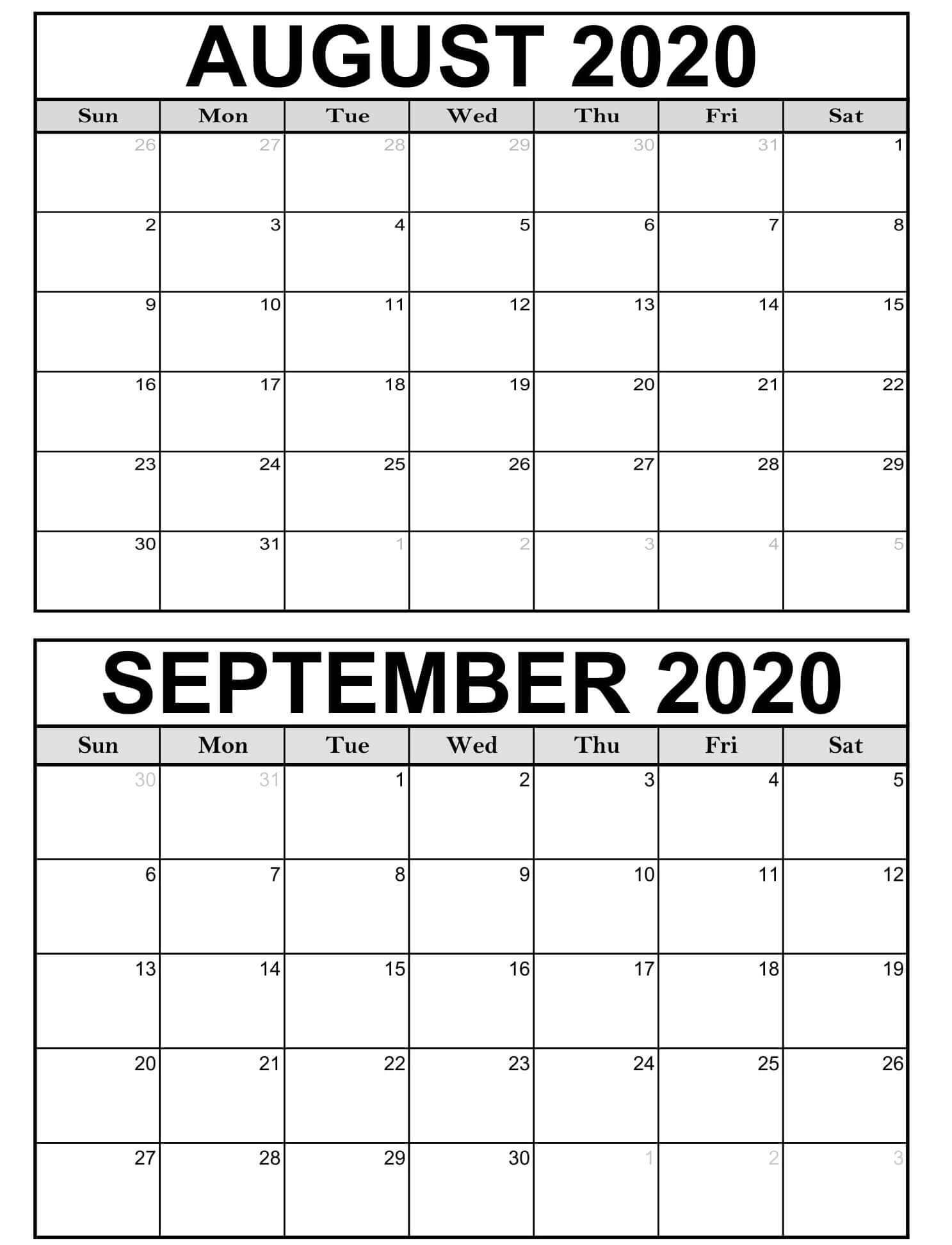 2020 August September Calendar With Holidays - 2019  Month Of August And September Calendar