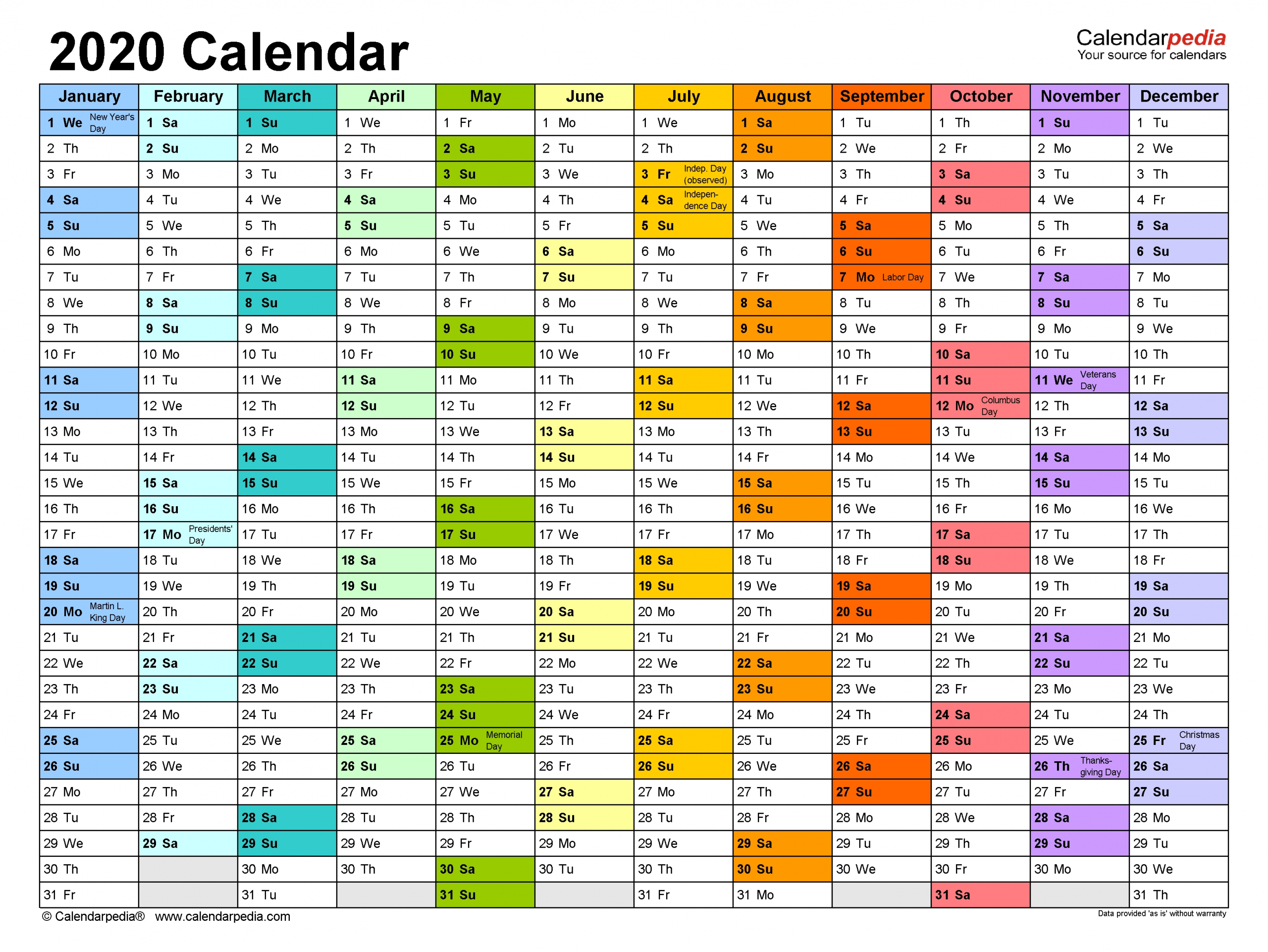 2020 Calendar - Free Printable Excel Templates - Calendarpedia  Excel Yearly Planner