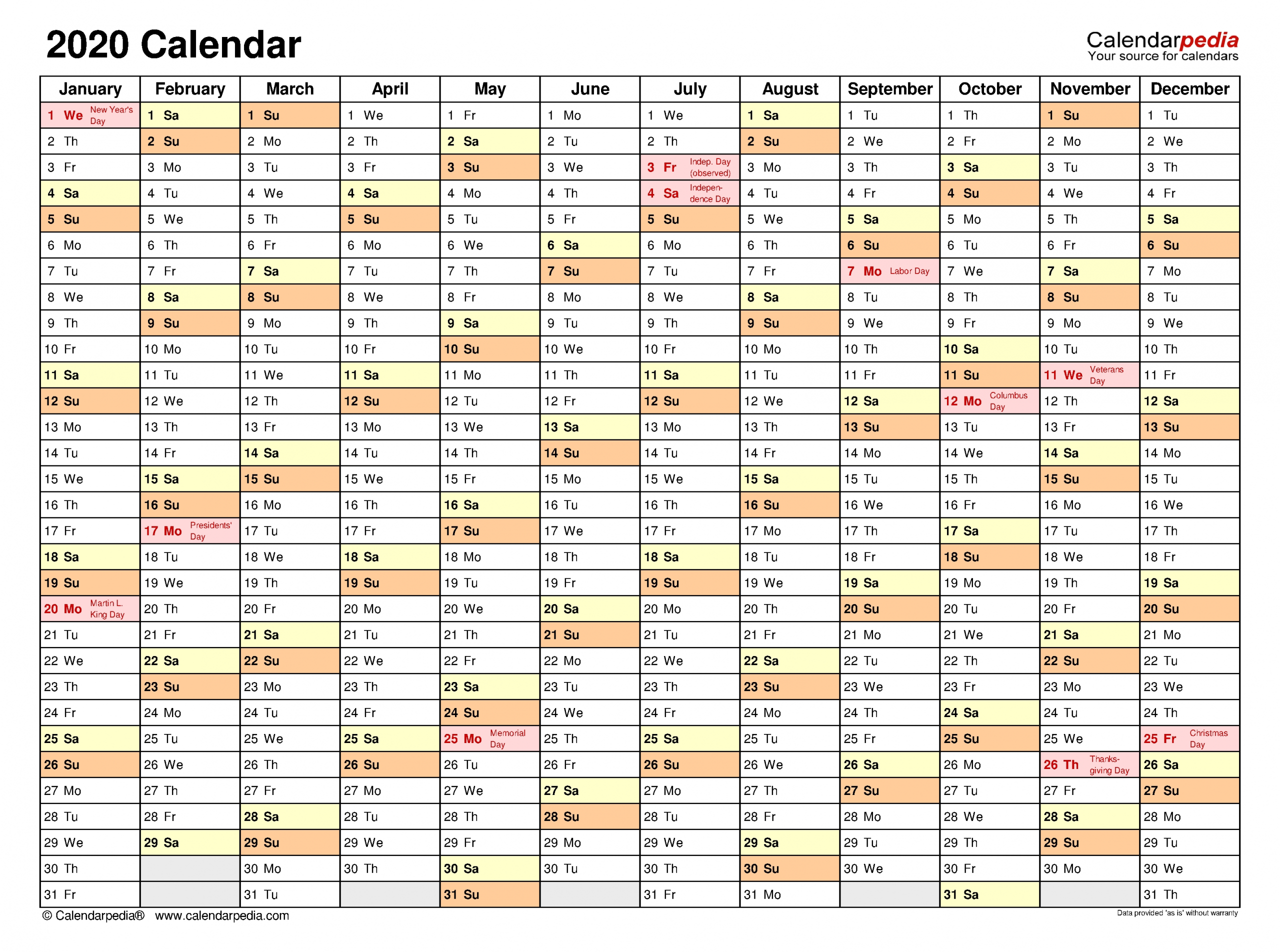 2020 Calendar - Free Printable Pdf Templates - Calendarpedia  A3 Calendar Template