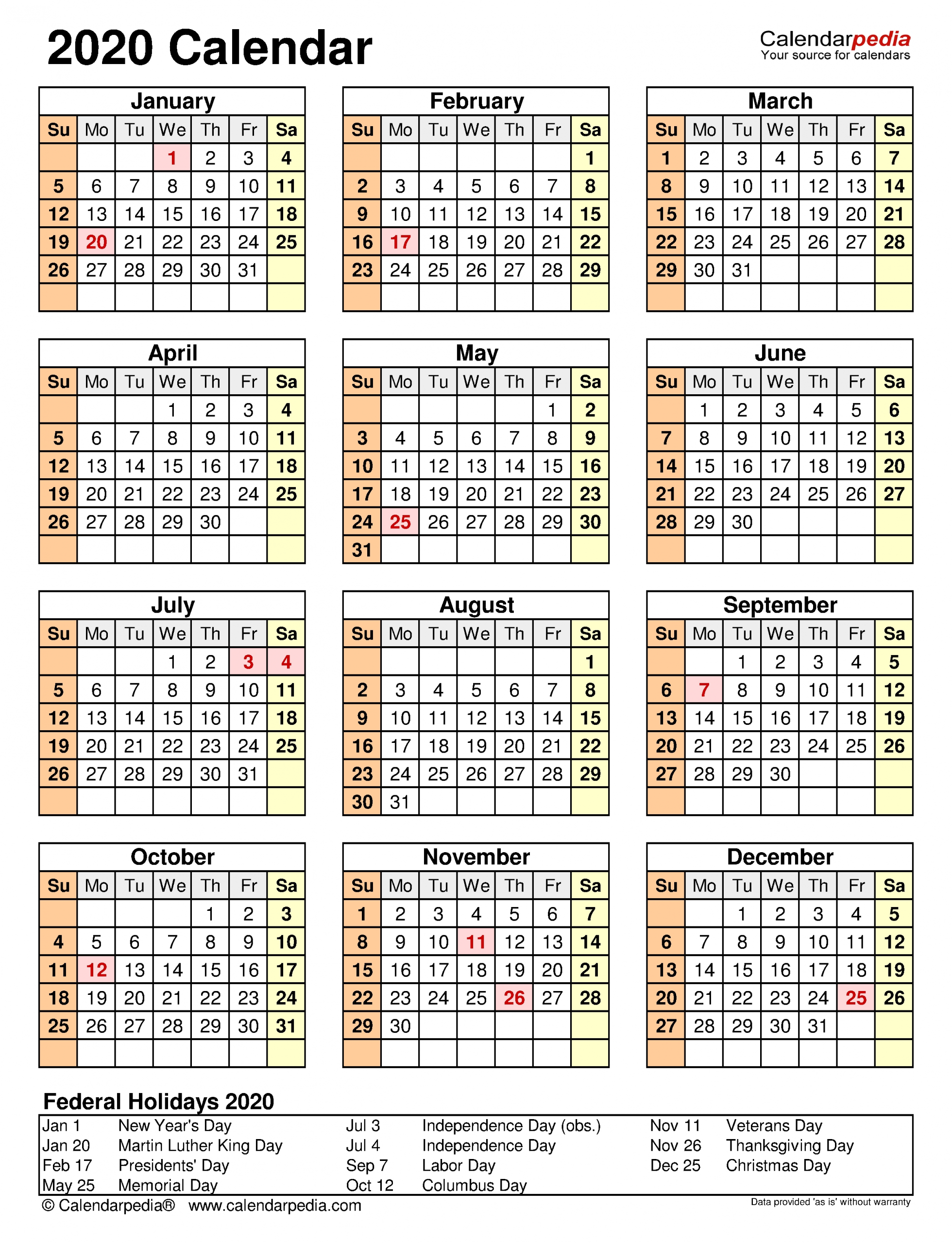 2020 Calendar - Free Printable Word Templates - Calendarpedia  2021 Attendance Calendar