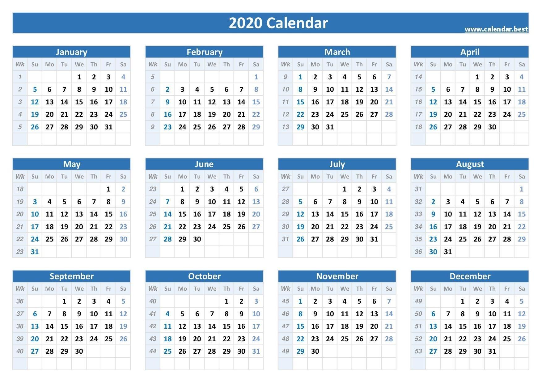 2020 Calendar With Week Numbers -Calendar.best  2020 Weekly Calendar