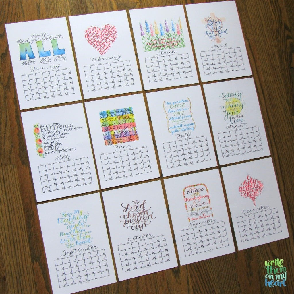 2020 Christian Printable Wall Calendars - Write Them On My Heart  Calender With Scriptures Template